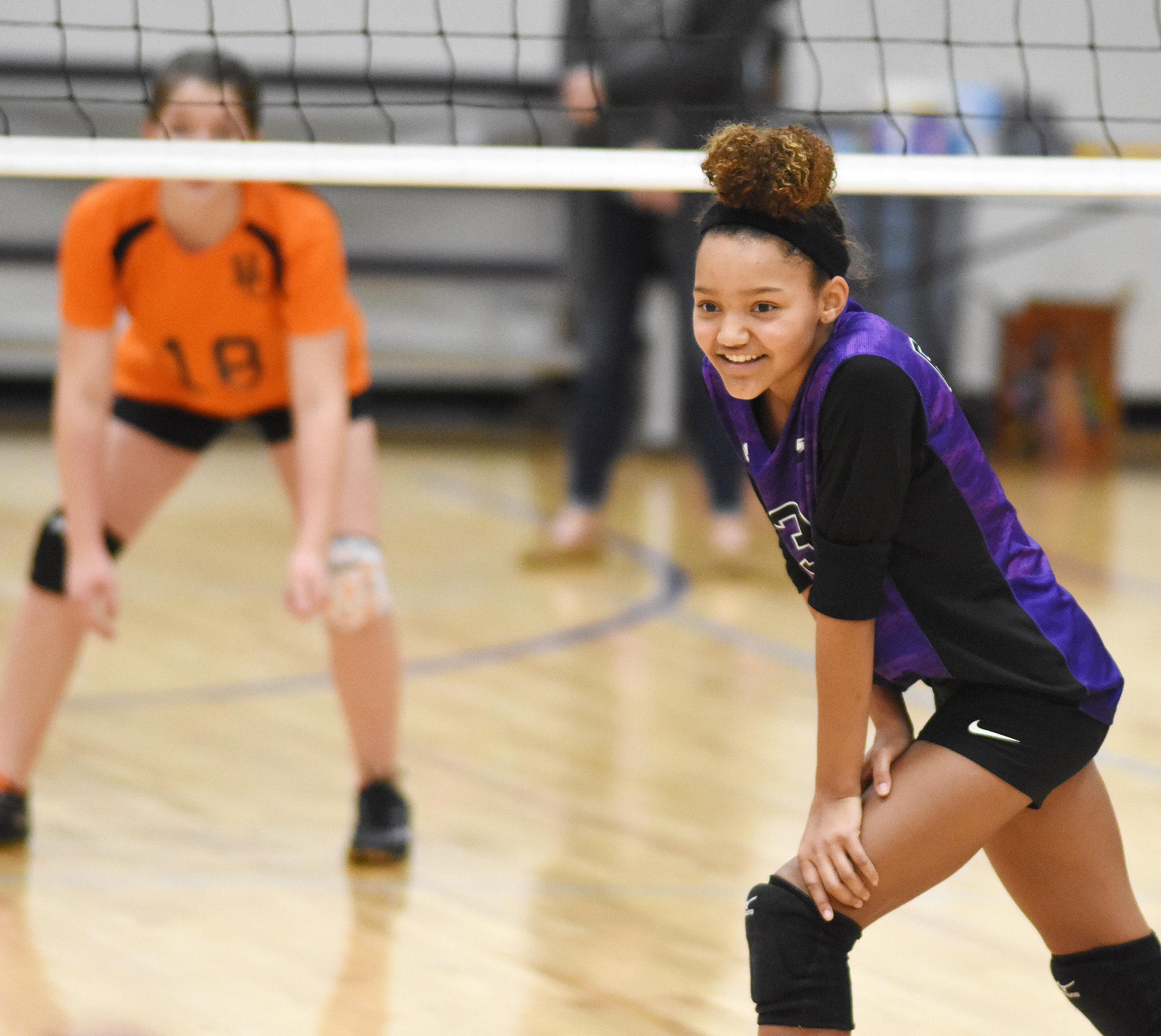 CMS eighth-grader Alexis Thomas smiles as her team gets the win.