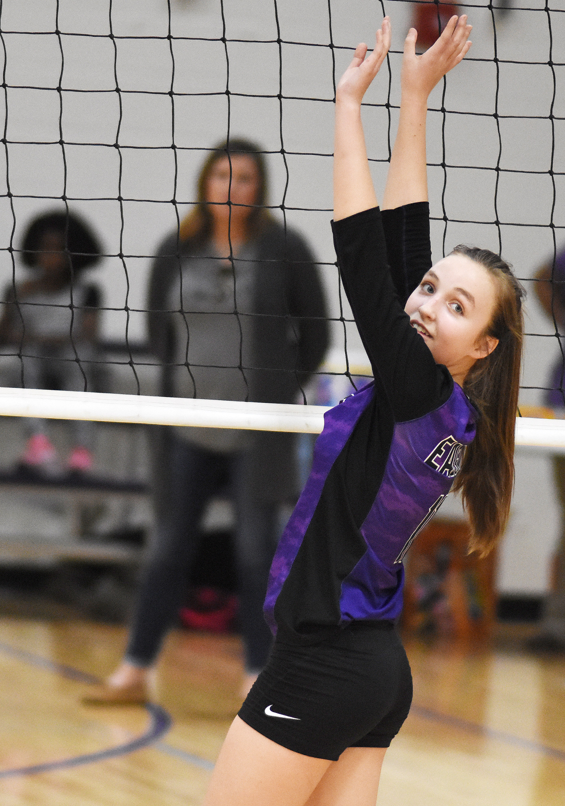 CMS eighth-grader Lainey Watson guards the net.