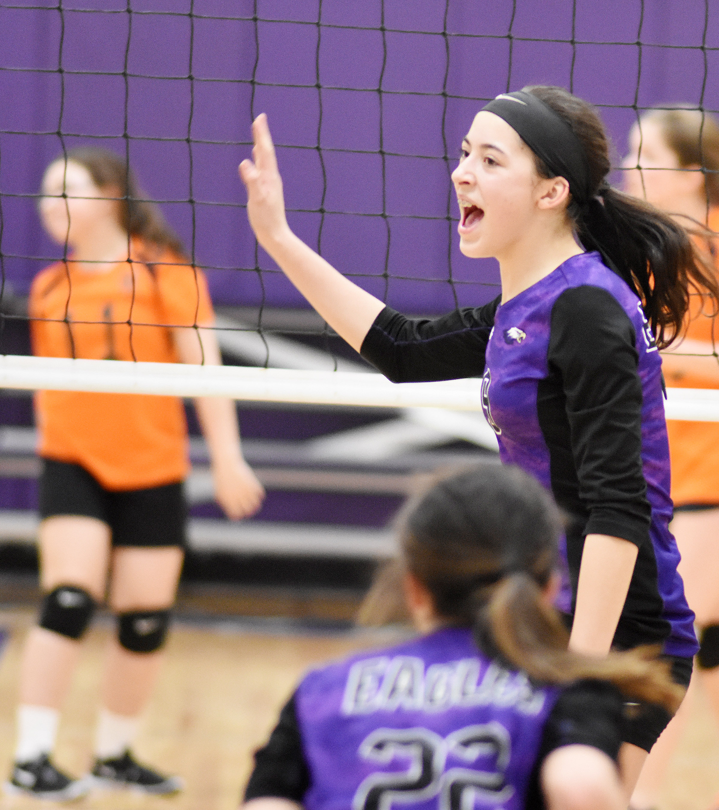 CMS eighth-grader Kaylyn Smith cheers as her team wins.