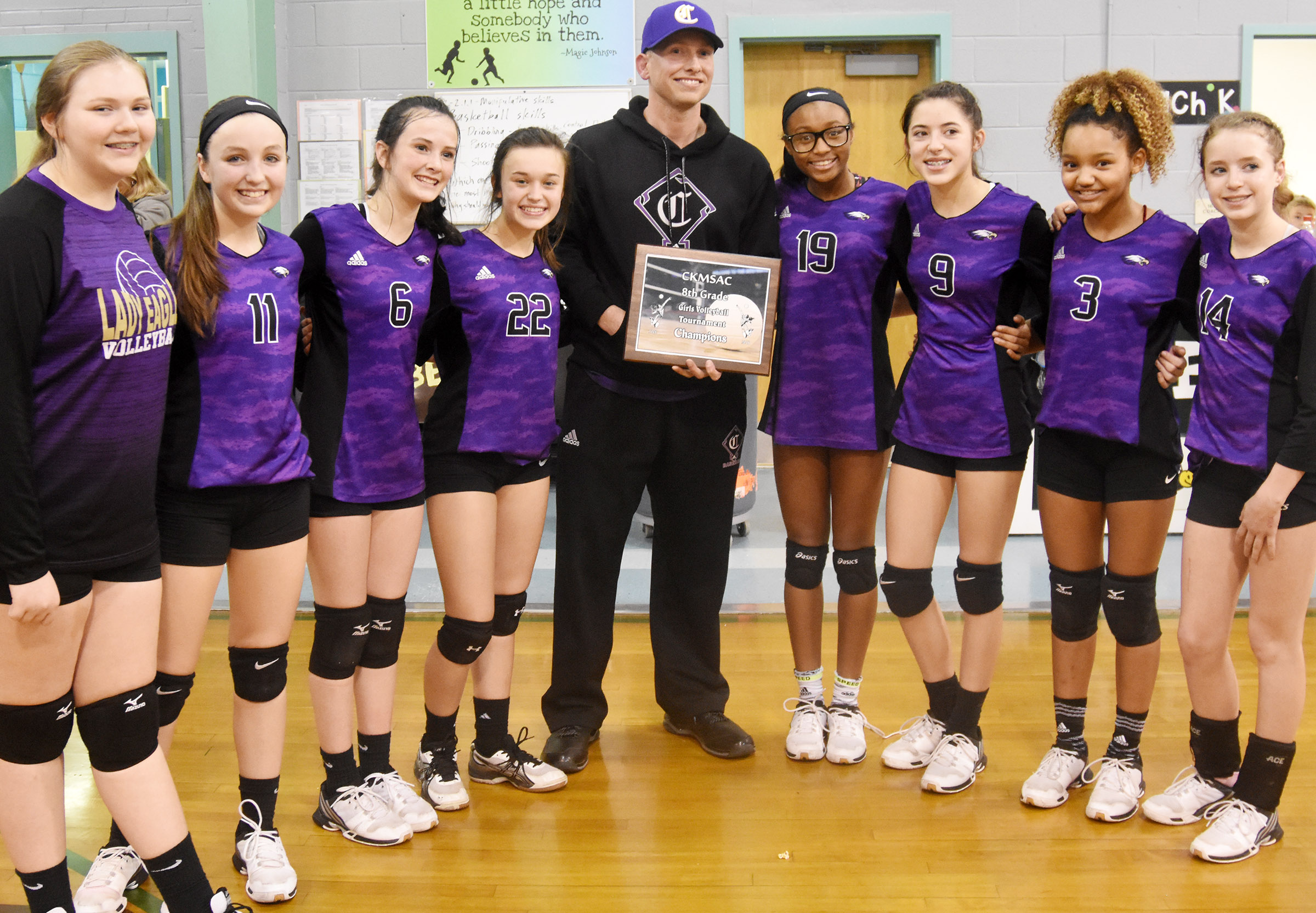 CMS eighth-grade volleyball players pose for a photo with Principal Zach Lewis. From left are Isabella Vannice, Lainey Watson, Sarah Adkins, Tayler Thompson, Bri Gowdy, Kaylyn Smith, Alexis Thomas and Rylee Petett.