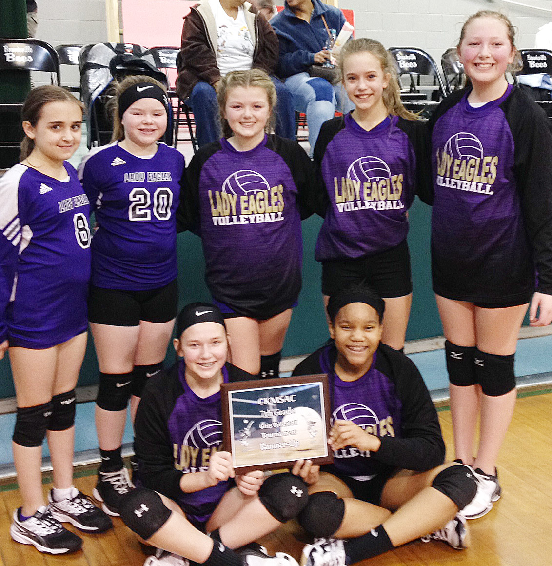 CMS seventh-grade volleyball team is Central Kentucky Middle School Athletic Conference tournament runners-up. From left, front, are seventh-graders BreAnna Humphress and Antaya Epps. Back, Campbellsville Elementary School fifth-graders Anna Floyd and Miley Hash and sixth-graders Ellington Gowin, Chloe Thompson and Ava Hughes.