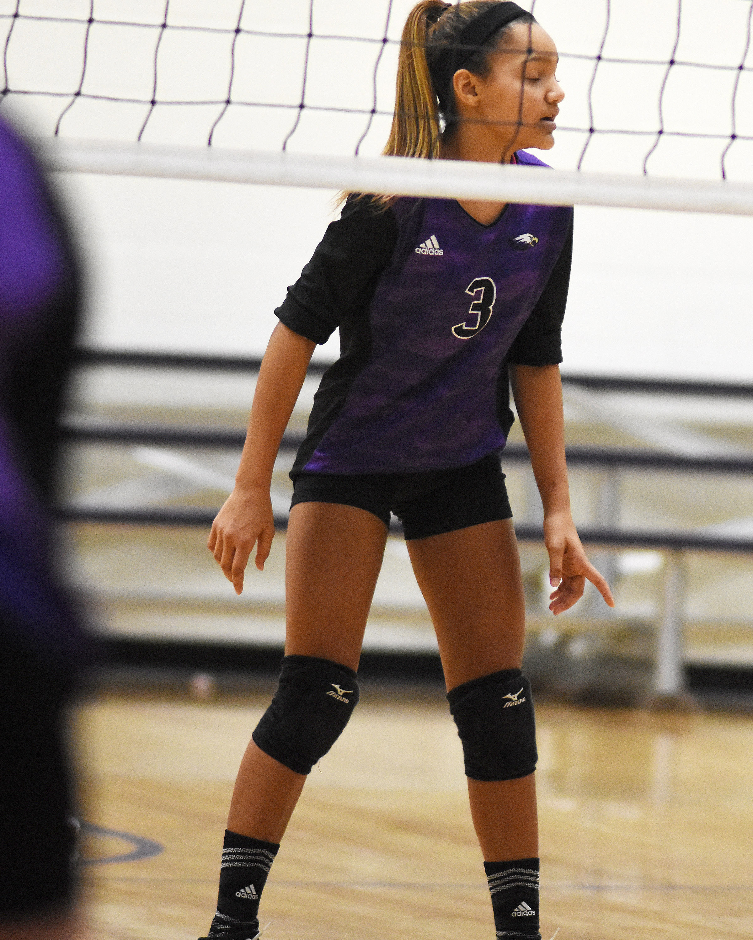 CMS eighth-grader Alexis Thomas watches a serve.