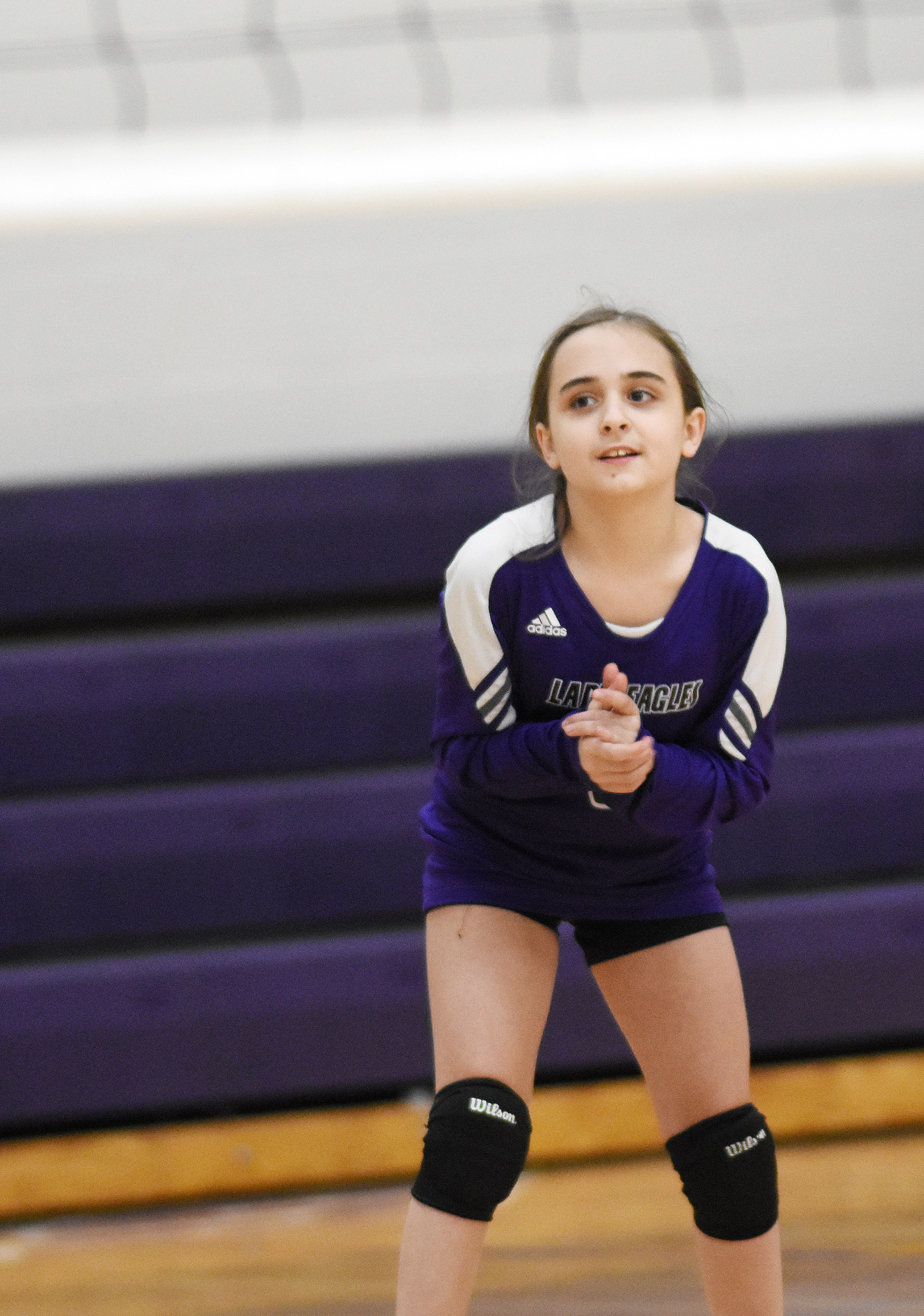 Campbellsville Elementary School fifth-grader Anna Floyd claps after a point.