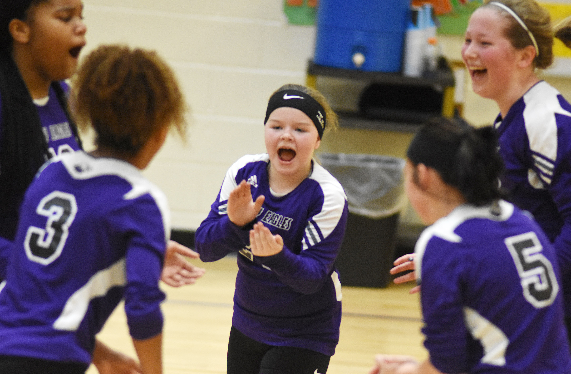 Campbellsville Elementary School fifth-grader Miley Hash cheers with her teammates.