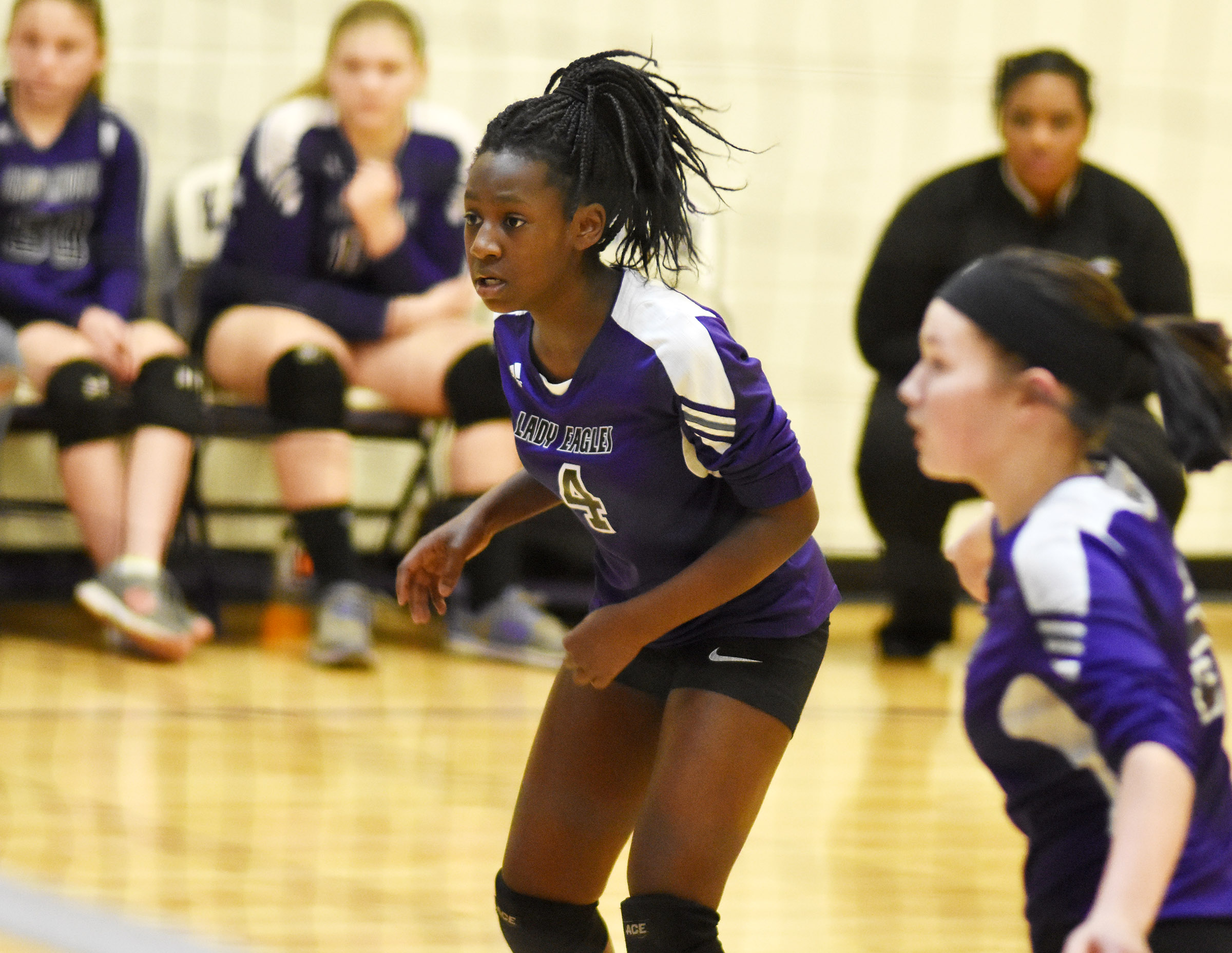 CMS eighth-grader Myricle Gholston keeps her eye on the ball.