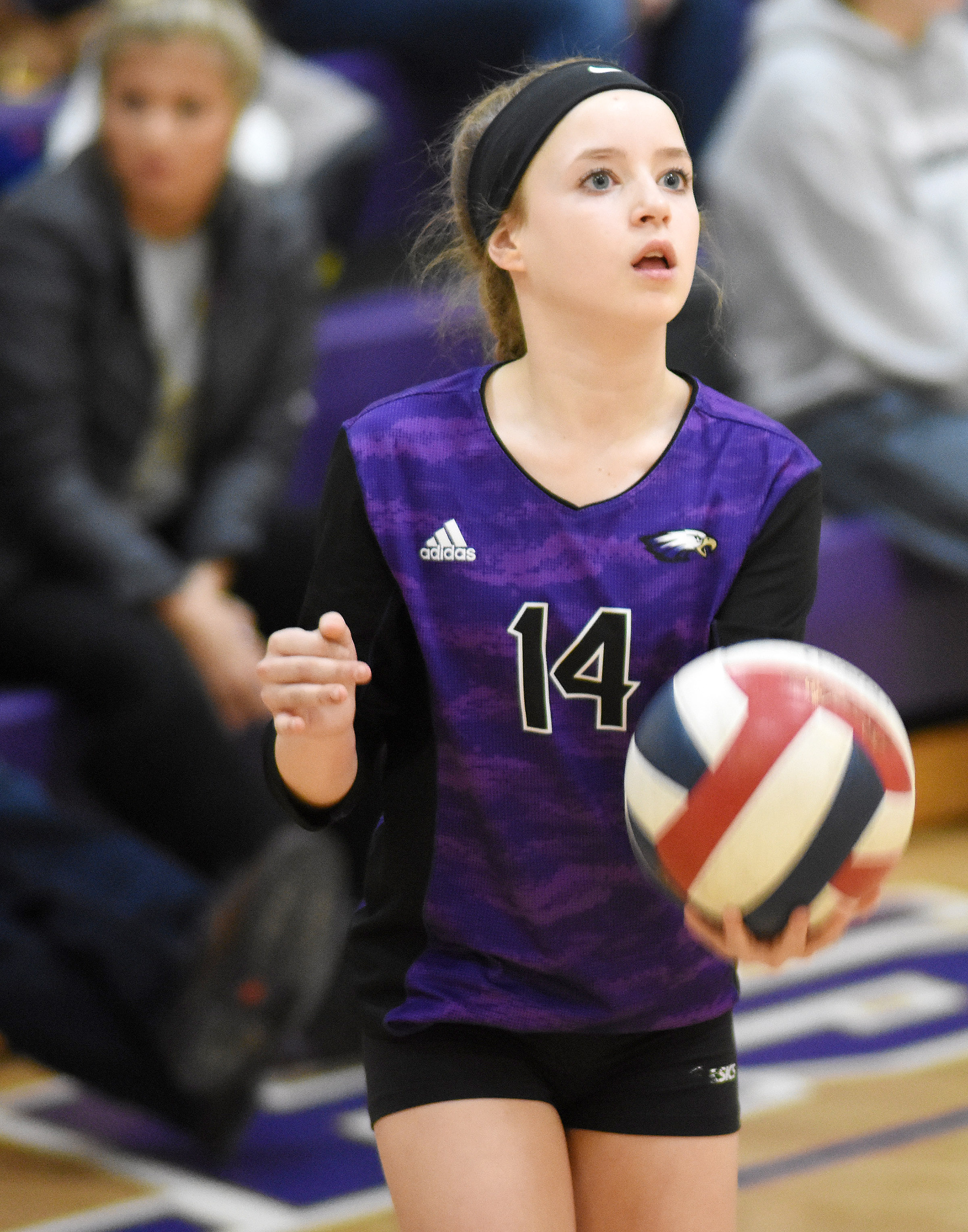 CMS eighth-grader Rylee Petett serves.