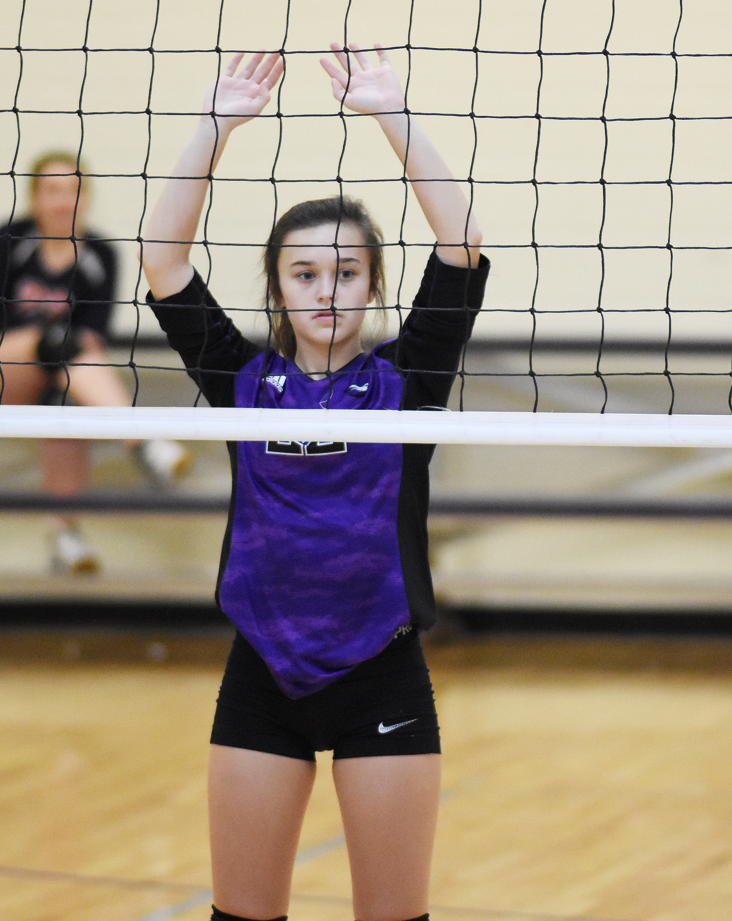CMS eighth-grader Tayler Thompson guards the net.