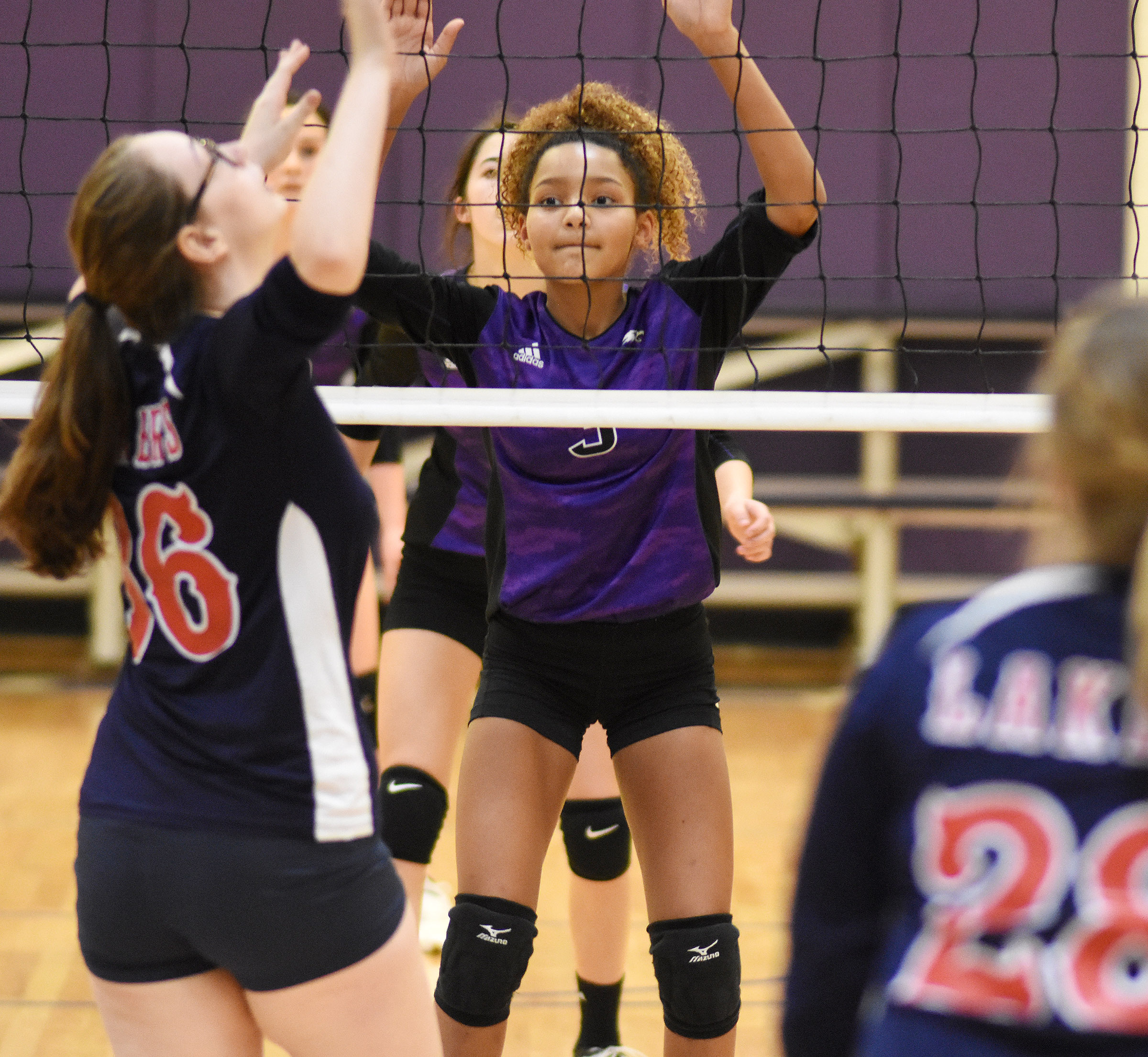 CMS eighth-grader Alexis Thomas guards the net.