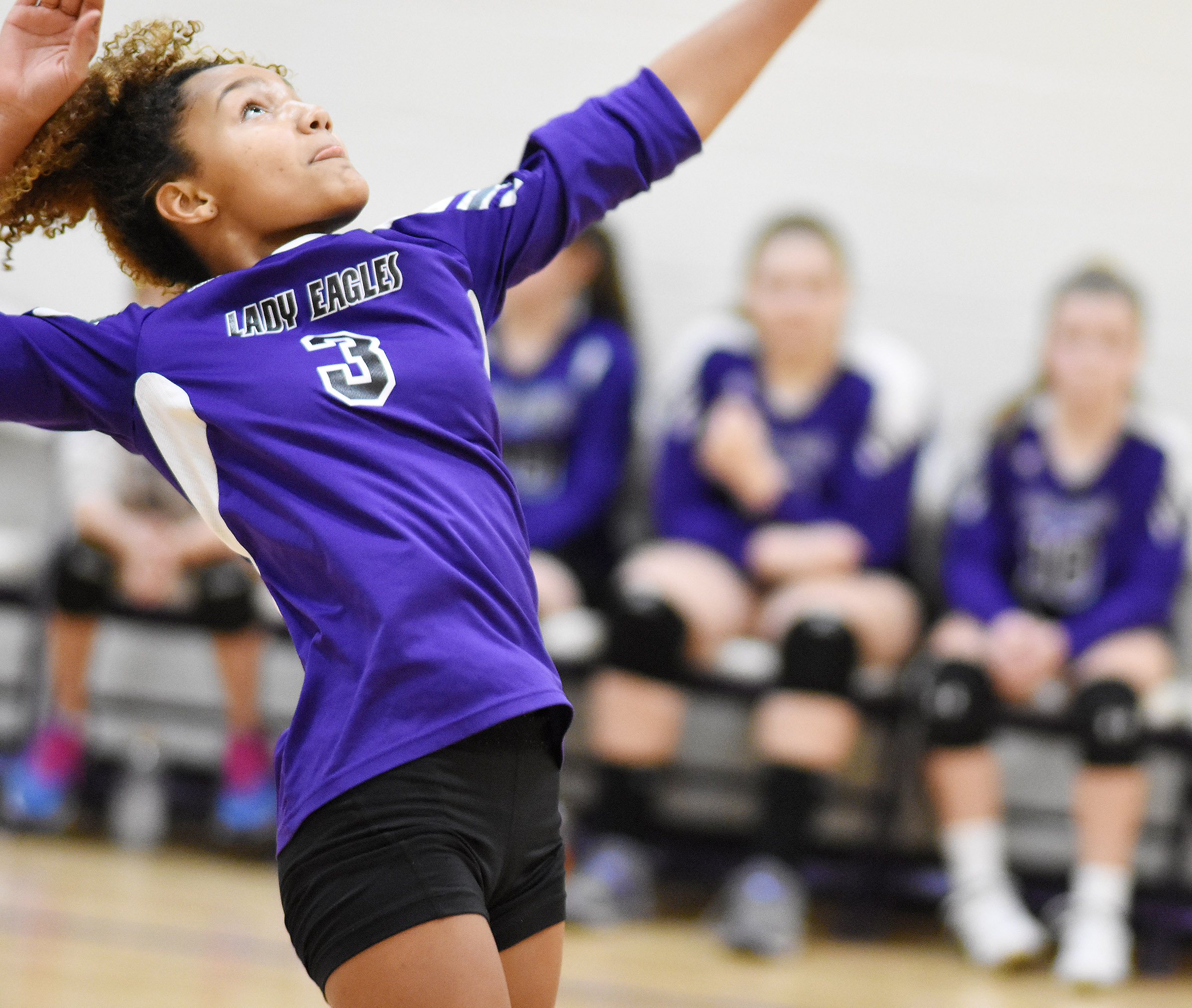 CMS eighth-grader Alexis Thomas hits the ball.