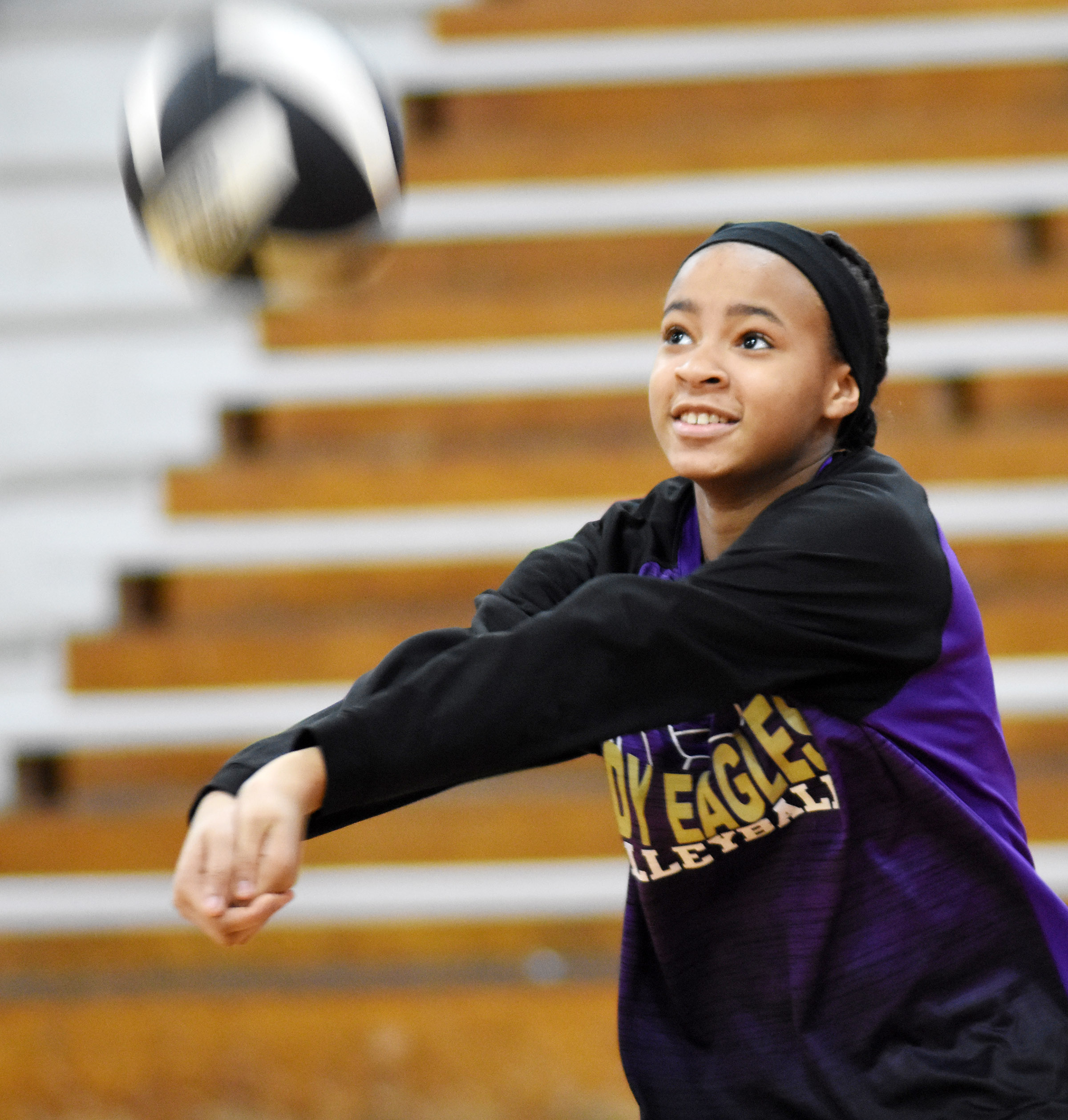 CMS eighth-grader Aundaya Coleman hits the ball.