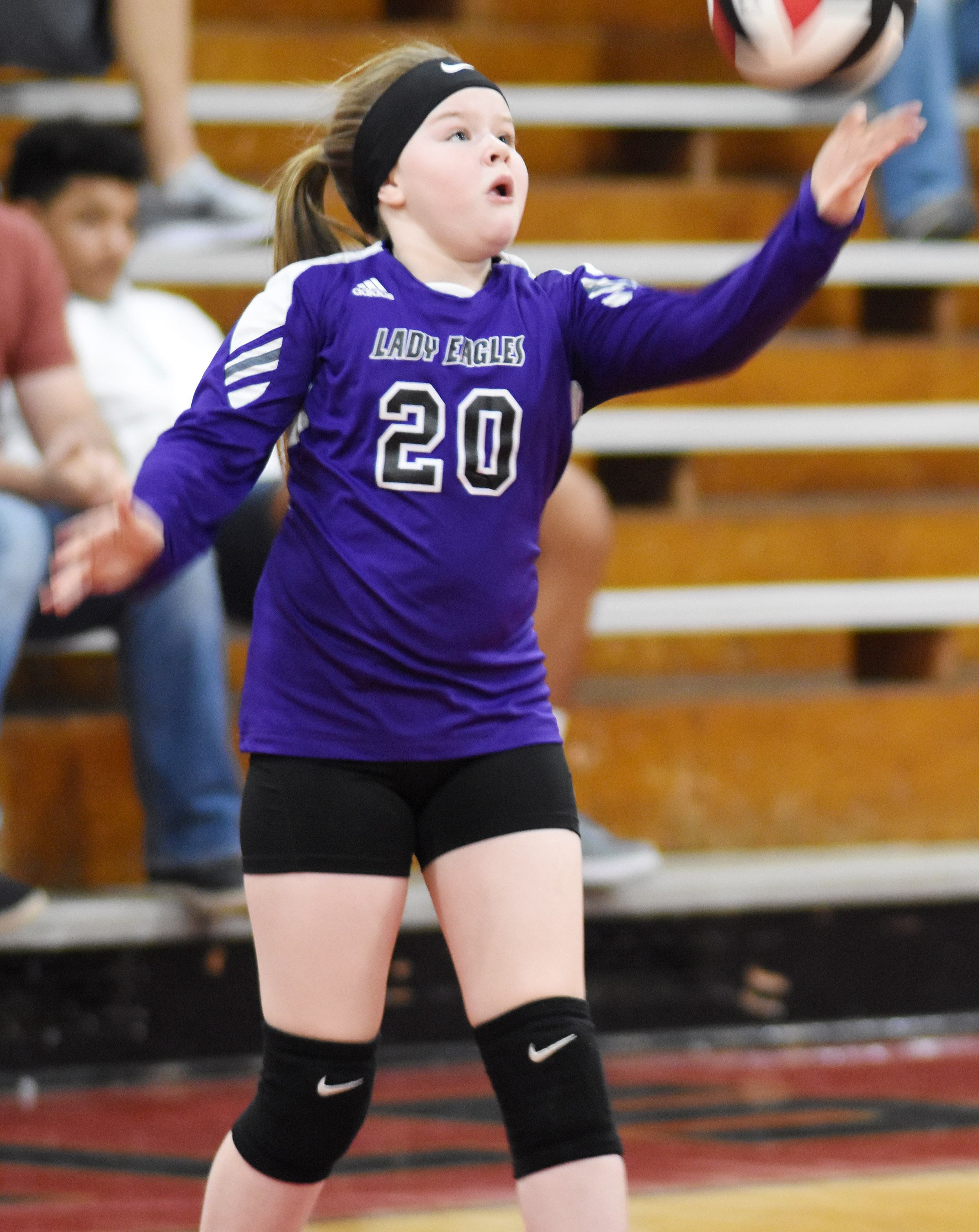 Campbellsville Elementary School fifth-grader Miley Hash serves.