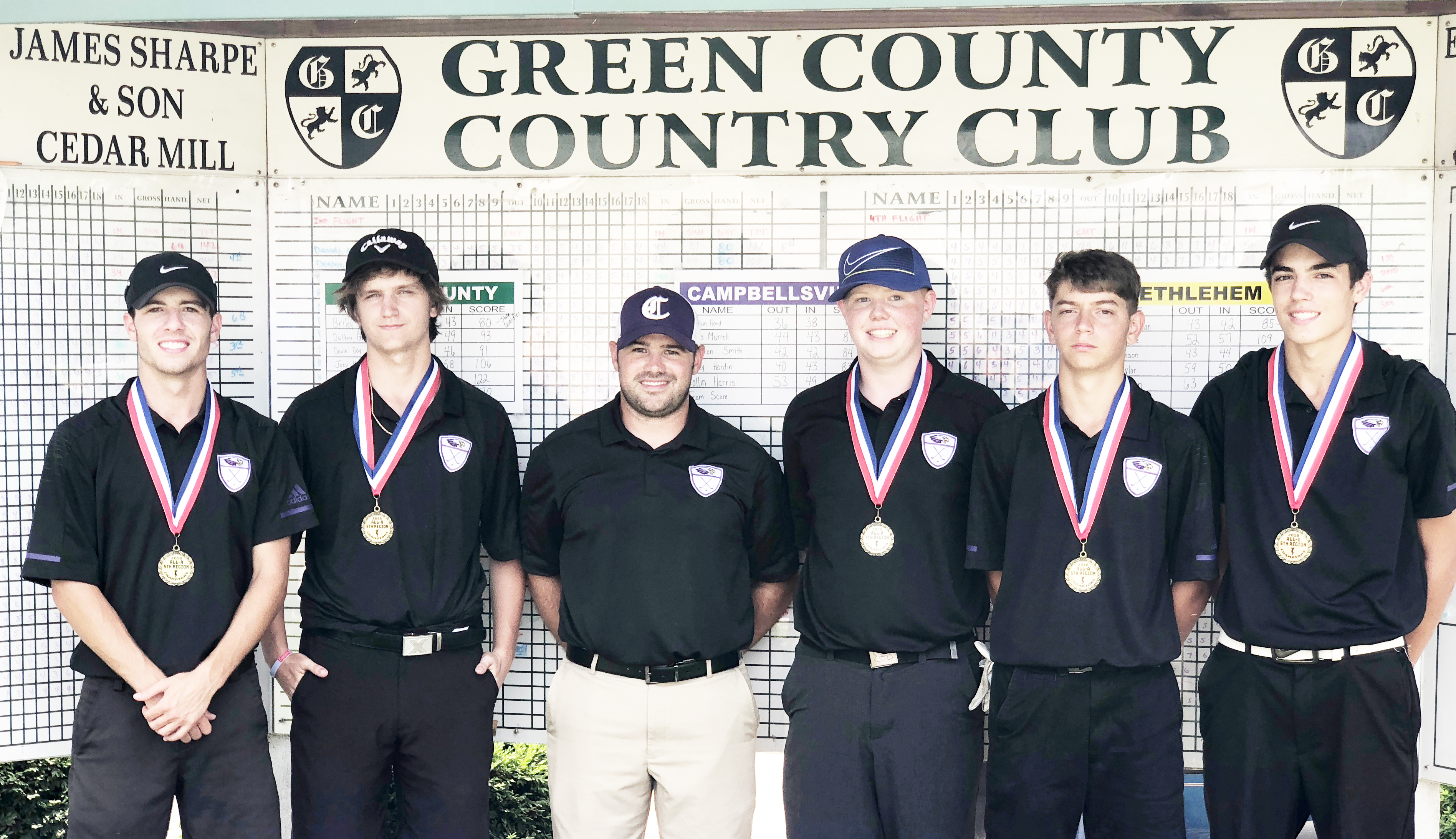 "For the fourth year in a row, the Campbellsville High School boys' golf team has won the All ""A"" fifth region championship, and will advance to the All ""A"" state tournament. From left are seniors Layton Hord and Myles Murrell, coach Blake Milby, sophomore Colin Harris, senior Casey Hardin and sophomore Kameron Smith. Hord was the overall individual winner, finishing 18 holes in 74 strokes."