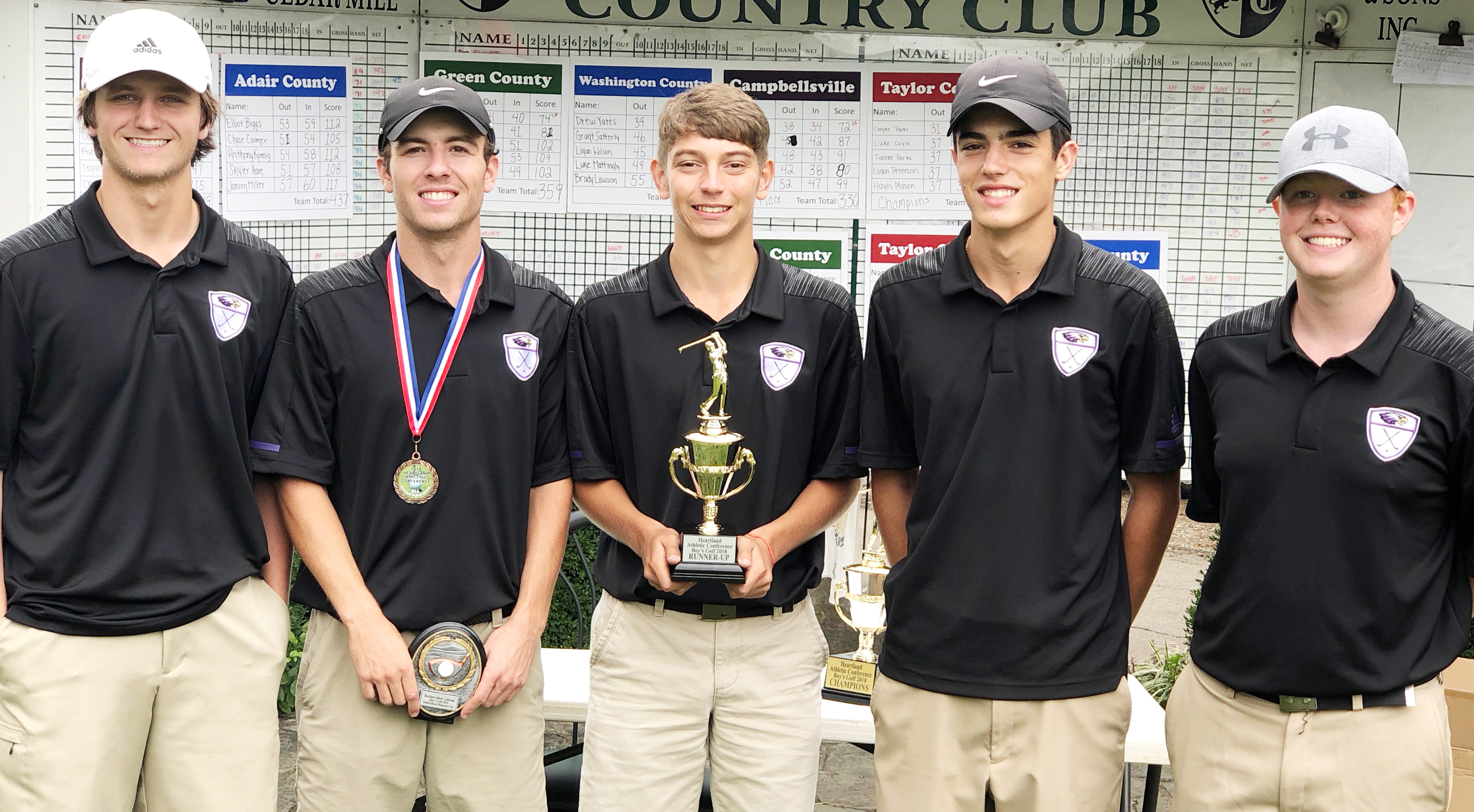 CHS boys' golf team is runners-up in this year's Heartland Conference tournament. From left are seniors Myles Murrell, Layton Hord and Casey Hardin and sophomores Kameron Smith and Colin Harris. Hord was the runner-up in the individual competition and named to the all-conference team.
