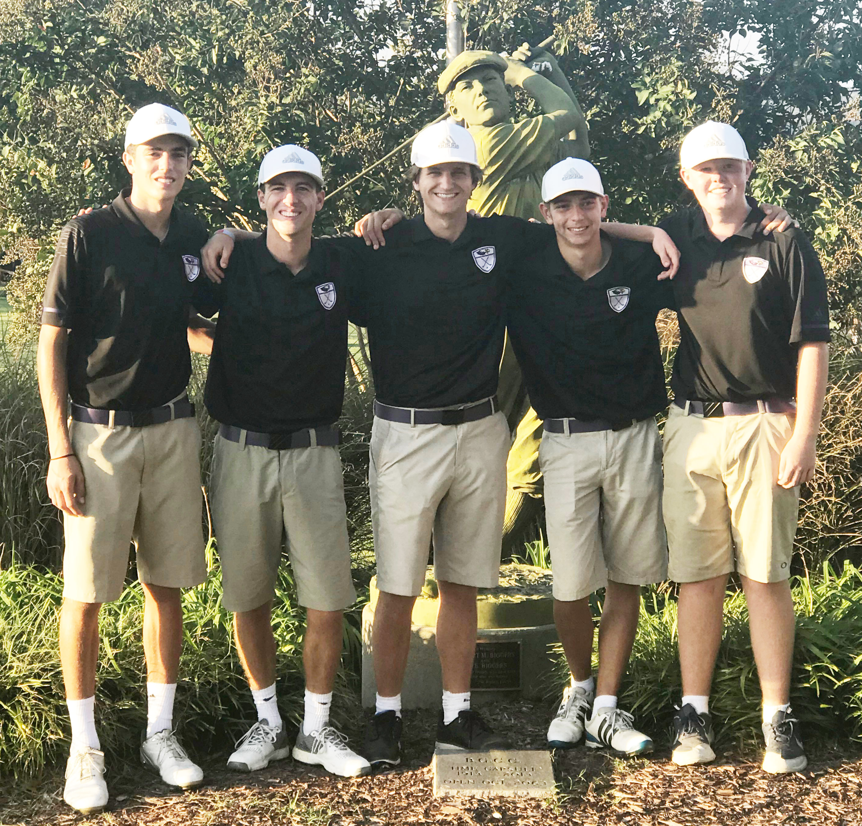 CHS boys' golf players, from left, sophomore Kameron Smith, seniors Layton Hord, Myles Murrell and Casey Hardin and sophomore Colin Harris, pose for a photo at the KHSAA tournament.