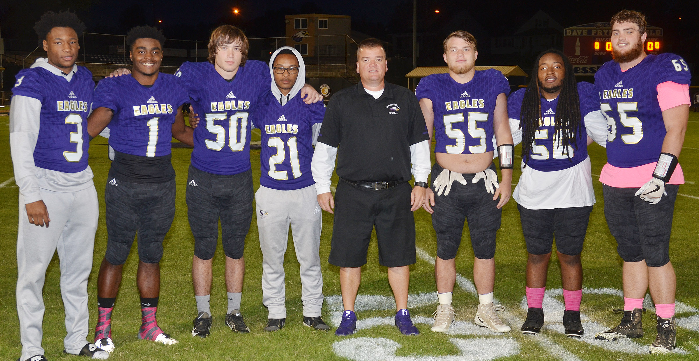 CHS senior football players were honored on Friday, Oct. 19, for their hard work and dedication this season. From left are Taj Sanders, Charlie Pettigrew, Tristan Johnson, Daesean Vancleave, head coach Dale Estes, Dakota Reardon, Ceondre Barnett and Lane Bottoms.