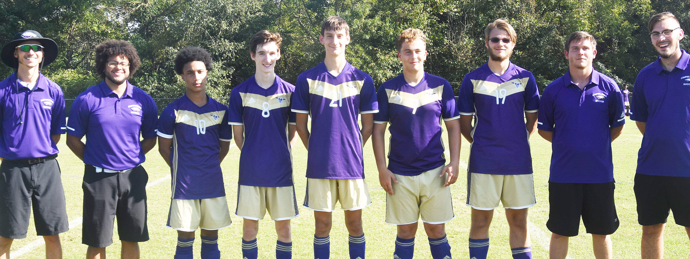 CHS senior soccer players are honored. From left are head coach Bradley Harris, assistant coach Malique Spaulding, players Daniel Johnson, Ian McAninch, Evan McAninch, Brody Weeks and Keidlan Boils and assistant coaches Owen Weeks and Weston Horn.