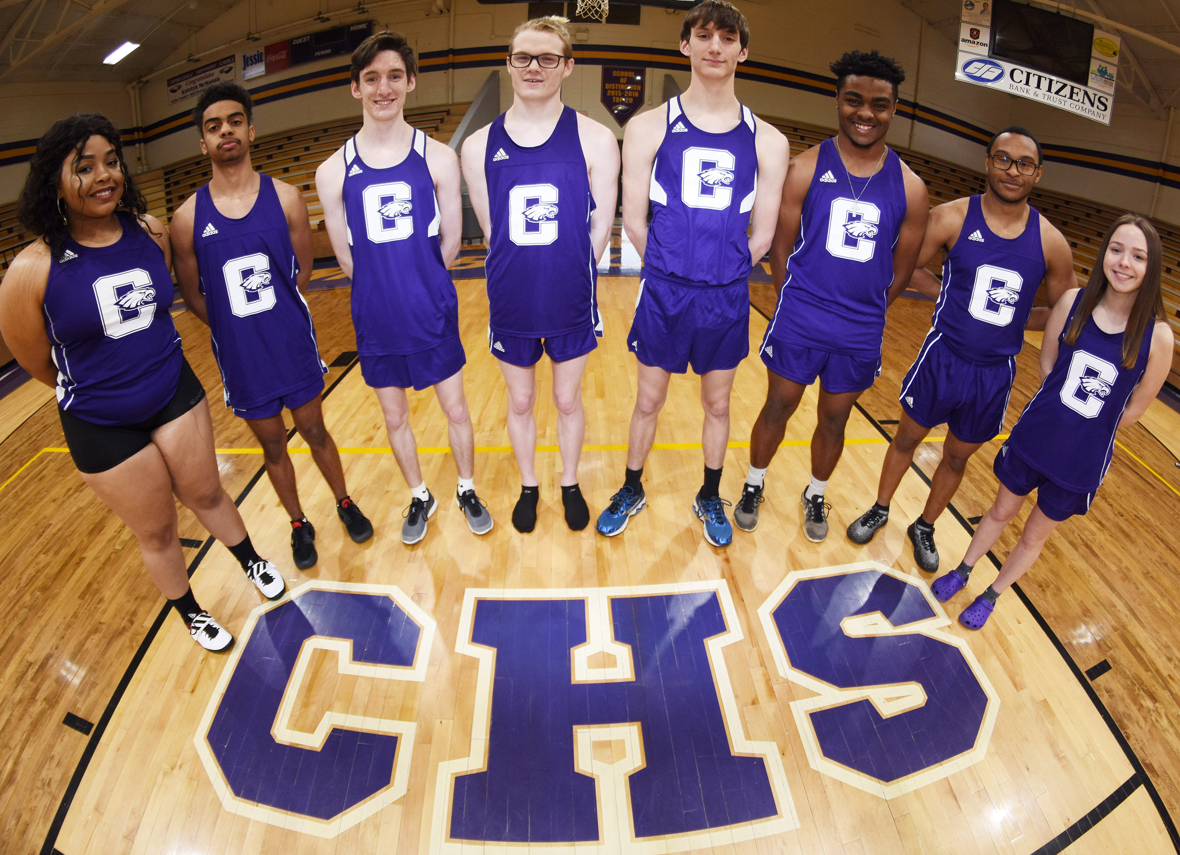 CHS senior track team members are, from left, Natalie Caldwell, Davon Cecil, Ian McAninch, Joe Pipes, Evan McAninch, Charlie Pettigrew, Daesean Vancleave and Christa Riggs. Absent from the photo is senior Tristan Johnson.