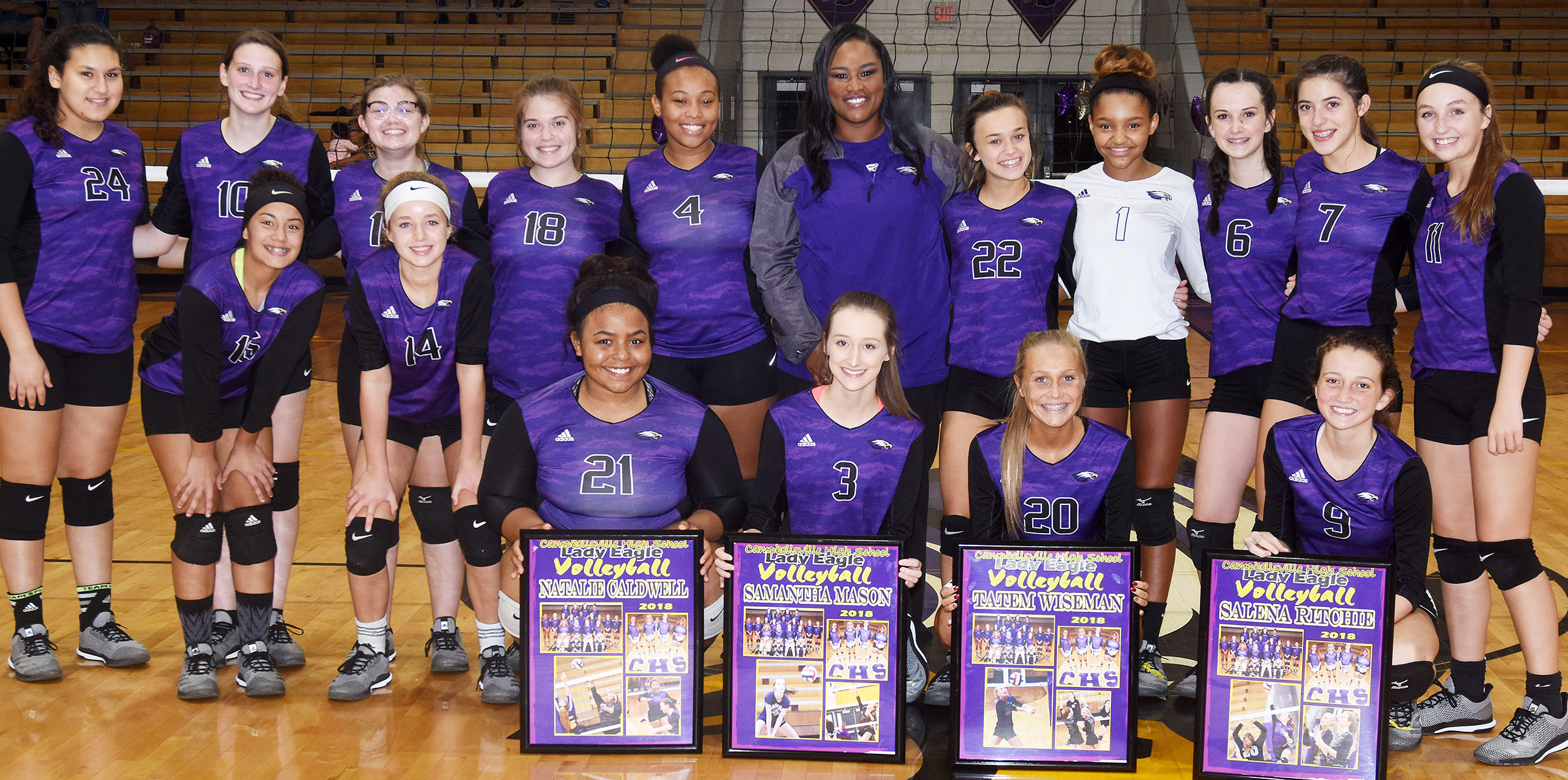 This year's senior volleyball players are pictured with their teammates. From left, front, are seniors Natalie Caldwell, Samantha Mason, Tatem Wiseman and Salena Ritchie. Back, sophomores Anna Clara Moura, Laci Hodgens, in front, Zoie Sidebottom, freshman Rylee Petett, in front, junior Shelby Smith, sophomore Chloe Garrett, junior Ketayah Taylor, coach Shajuana Ditto and freshman Tayler Thompson, Alexis Thomas, Sarah Adkins, Kaylyn Smith and Lainey Watson.
