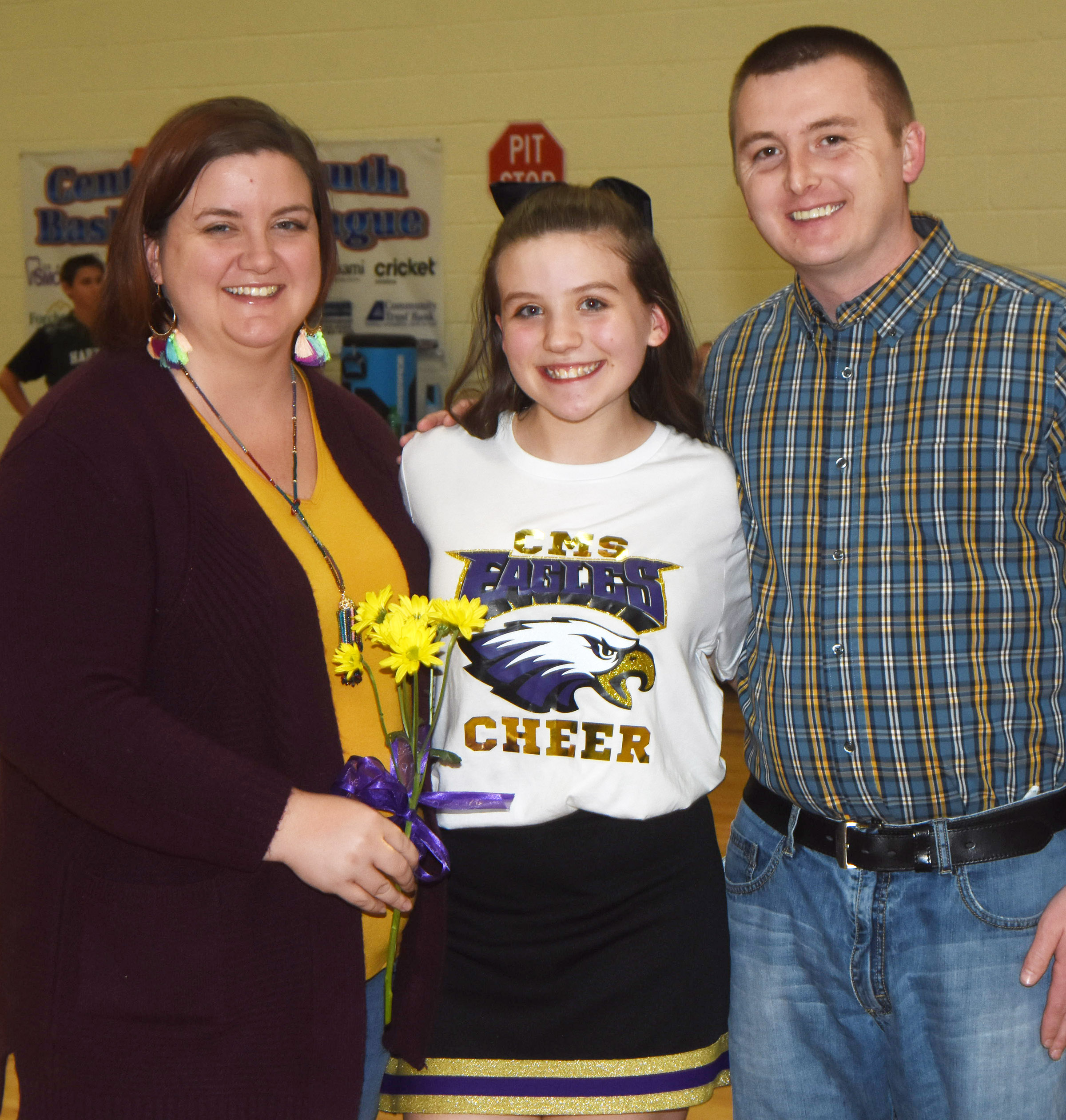 CMS eighth-grader cheerleader Mikaela Scharbrough is honored.