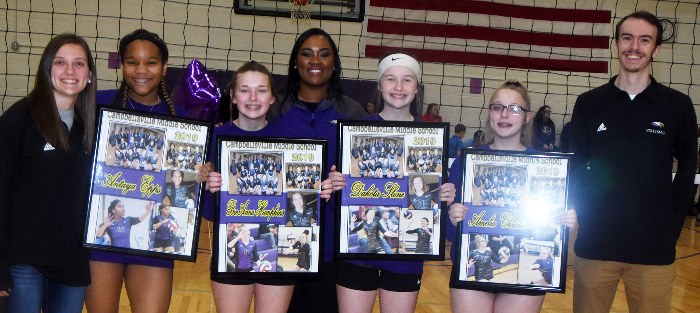 CMS eighth-grade volleyball players were honored recently for their dedication to their team. From left are assistant coach Ashlyn Flock, Antaya Epps, BreAnna Humphress, head coach Shajuana Ditto, Dakota Slone, Amelia Christie and assistant coach Cody Jones.