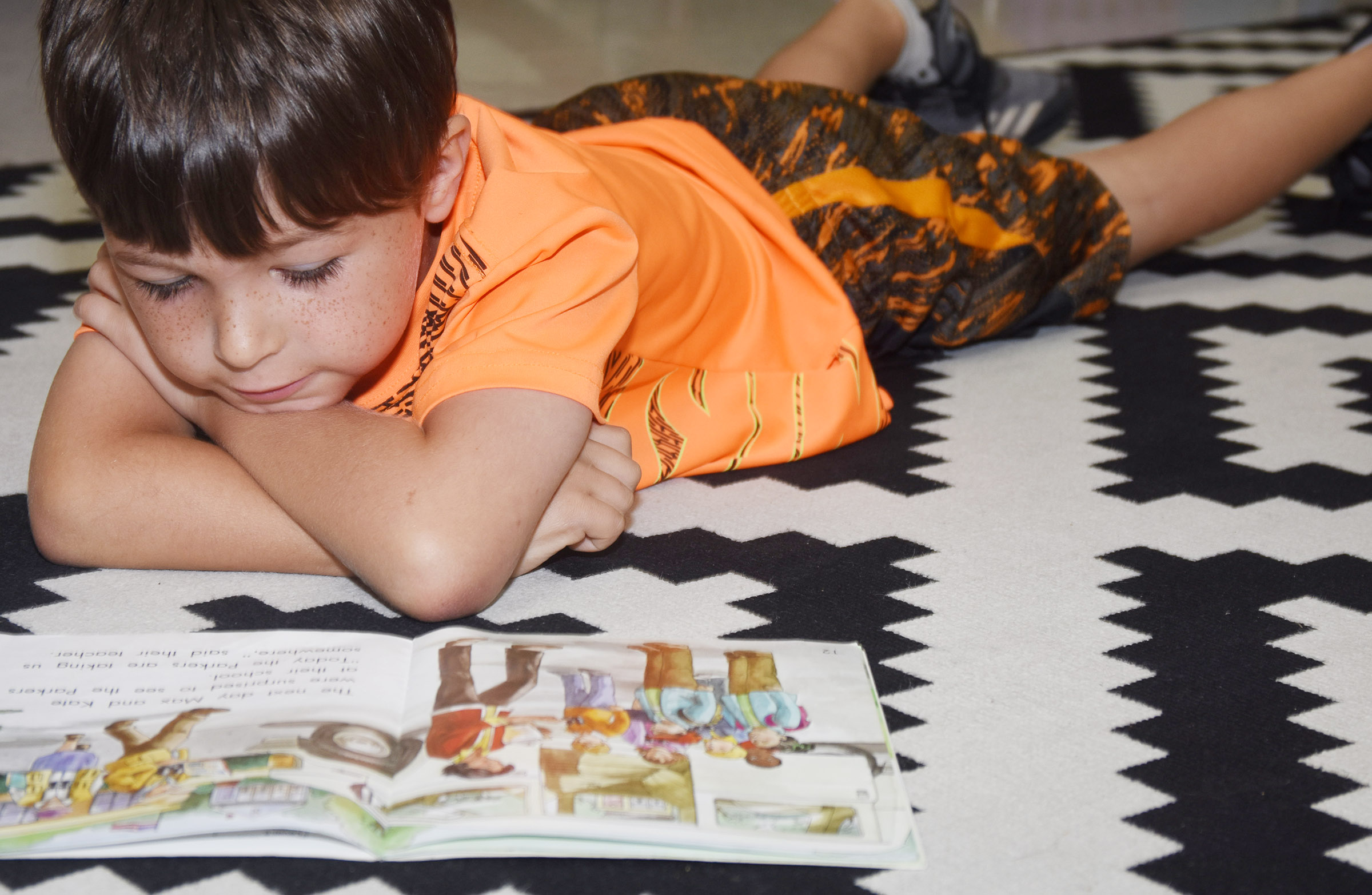 CES first-grader Bentley Wilhoite reads during center time.