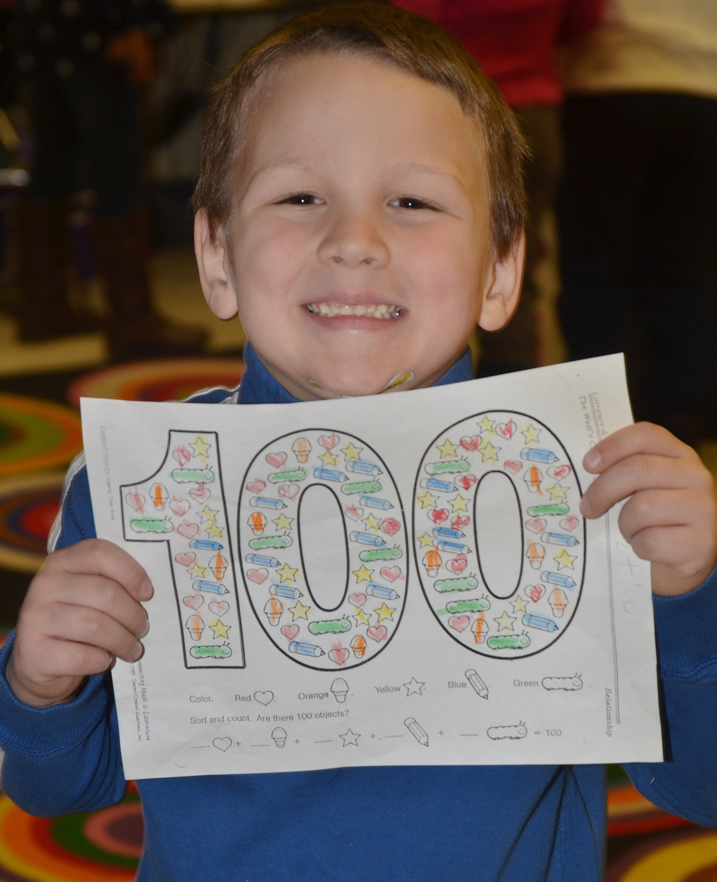 CES kindergartener Justice Nelson colored 100 items.