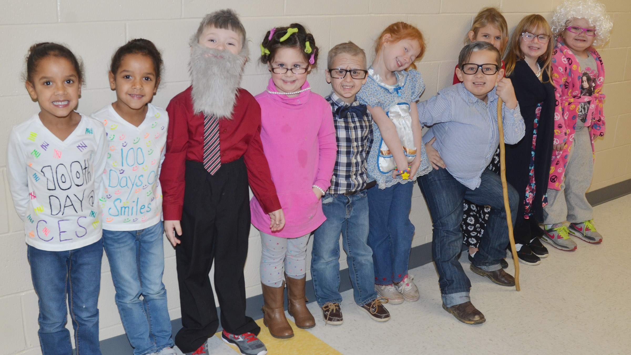 CES kindergarteners in Lisa Wiseman's class dress as if they are 100 years old.