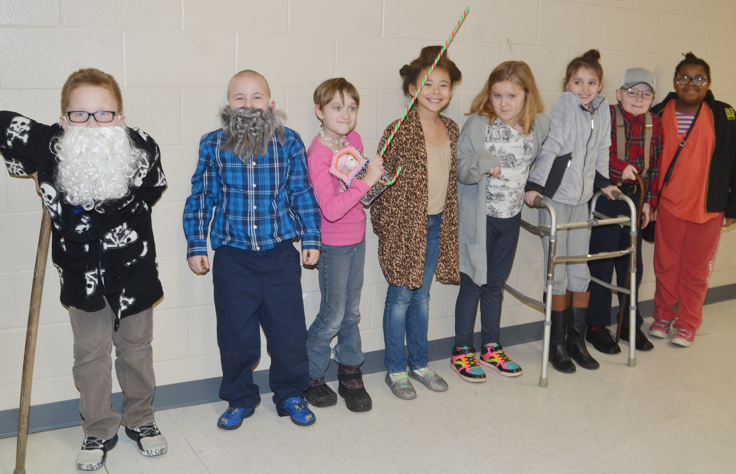CES third-graders in Hannah Jones's class dress as if they are 100.