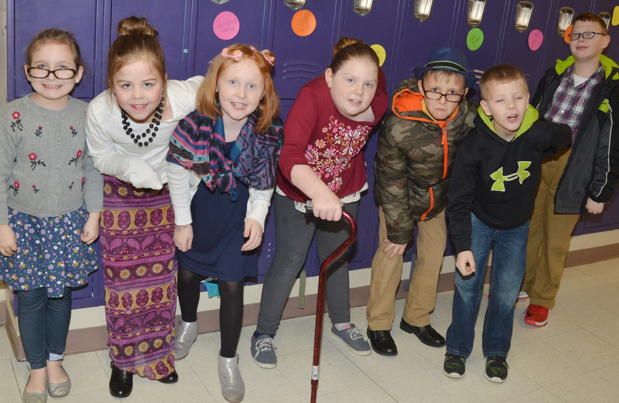 CES third-graders in Patty Haley's class dress as if they are 100.