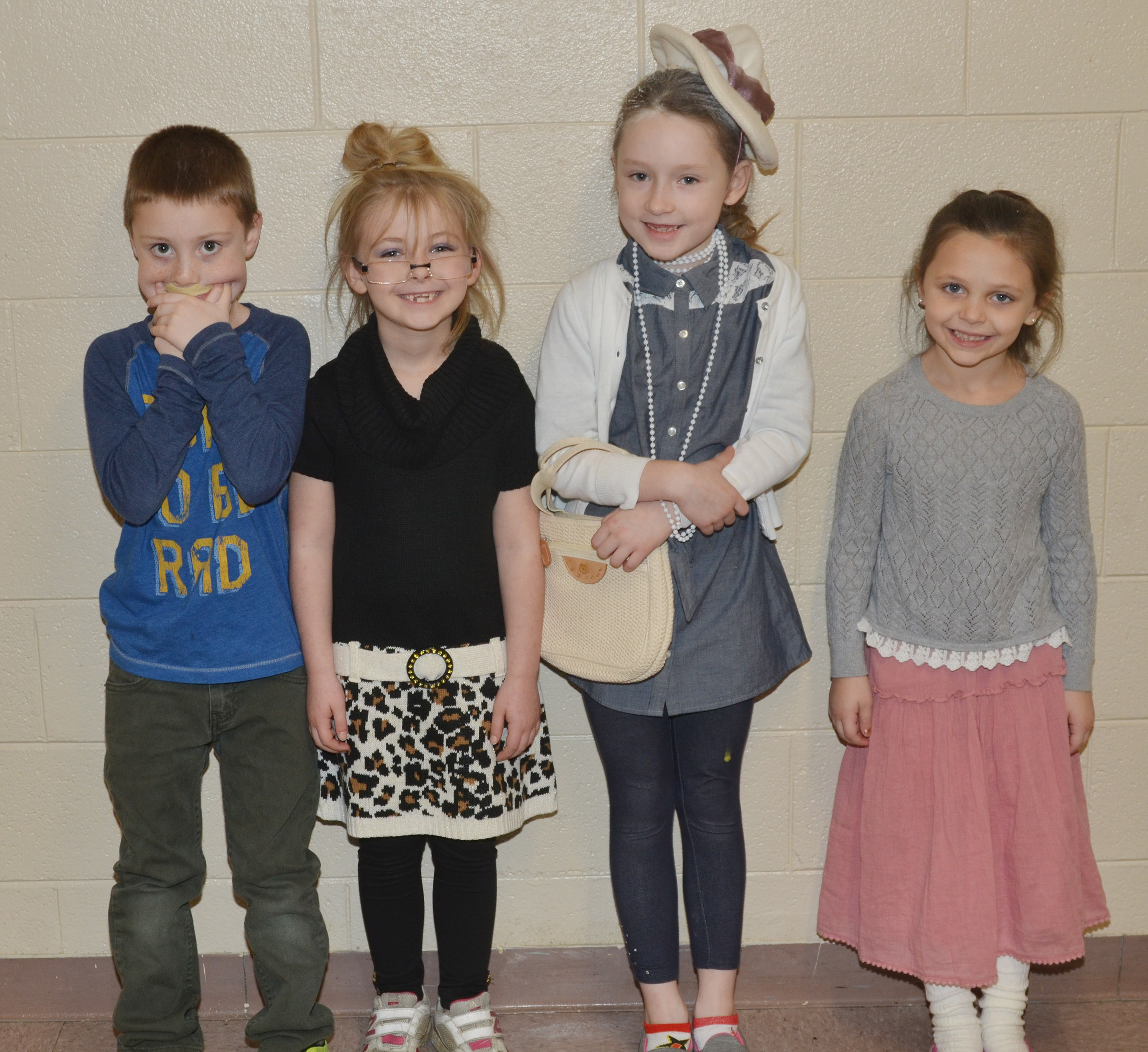 CES first-graders in Amanda Greer's class dress as if they are 100 years old.