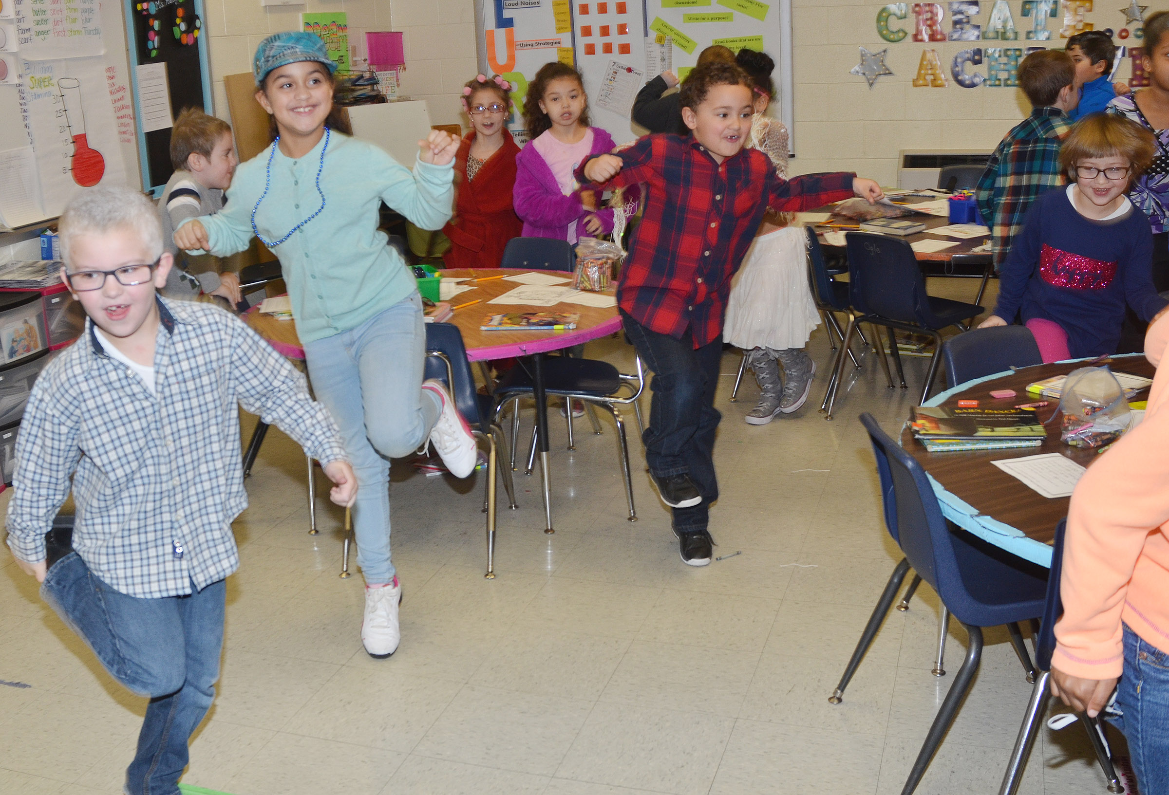 CES first-graders exercise for 100 seconds.