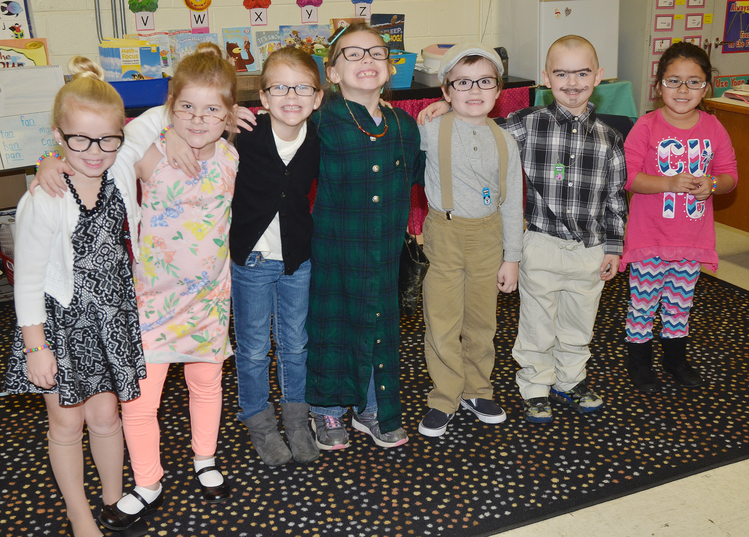 CES kindergarteners in Leanna Cundiff's class dress as if they were 100 years old.