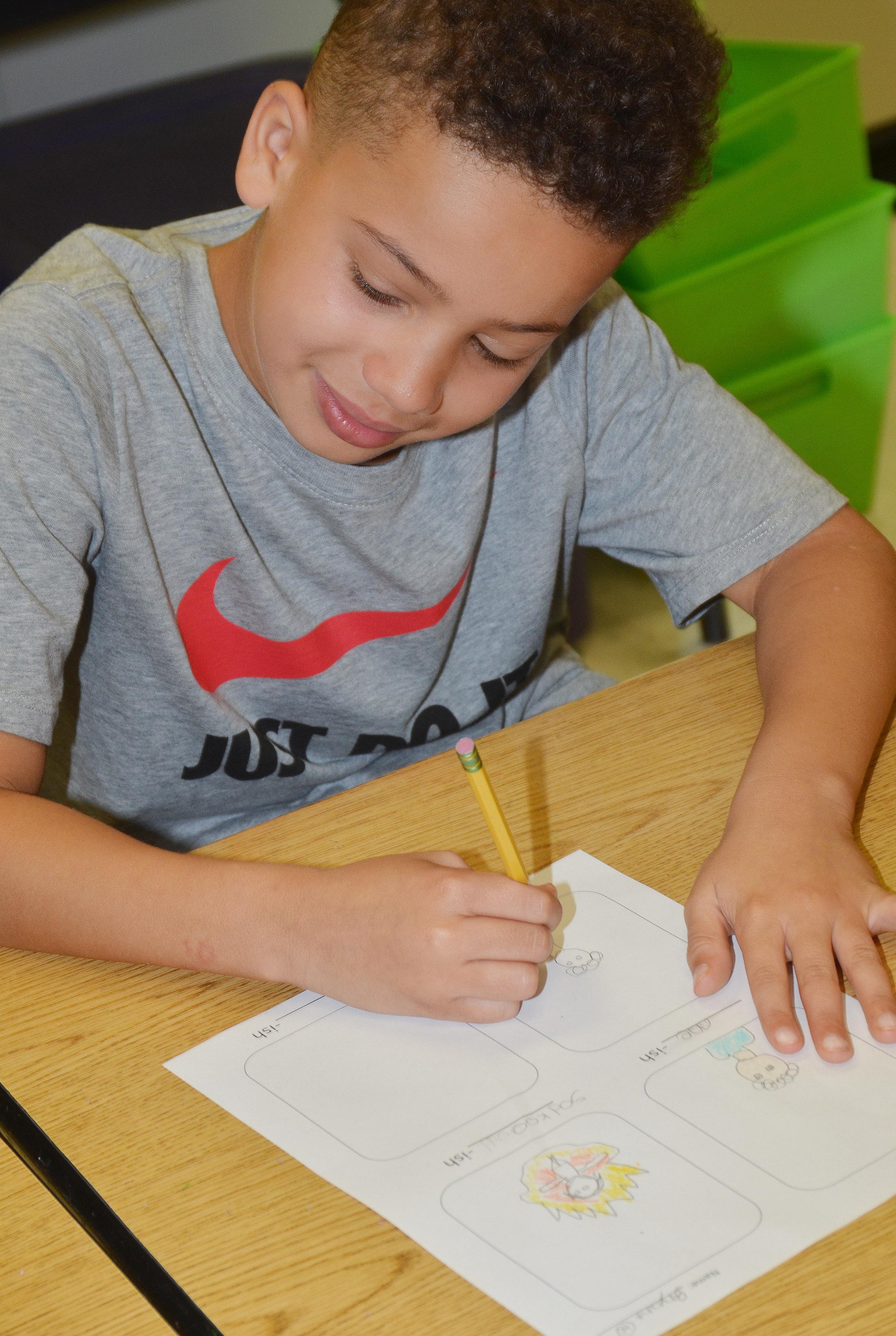 "CES second-grader Bryant Mayo creates his ""-ish"" drawings."