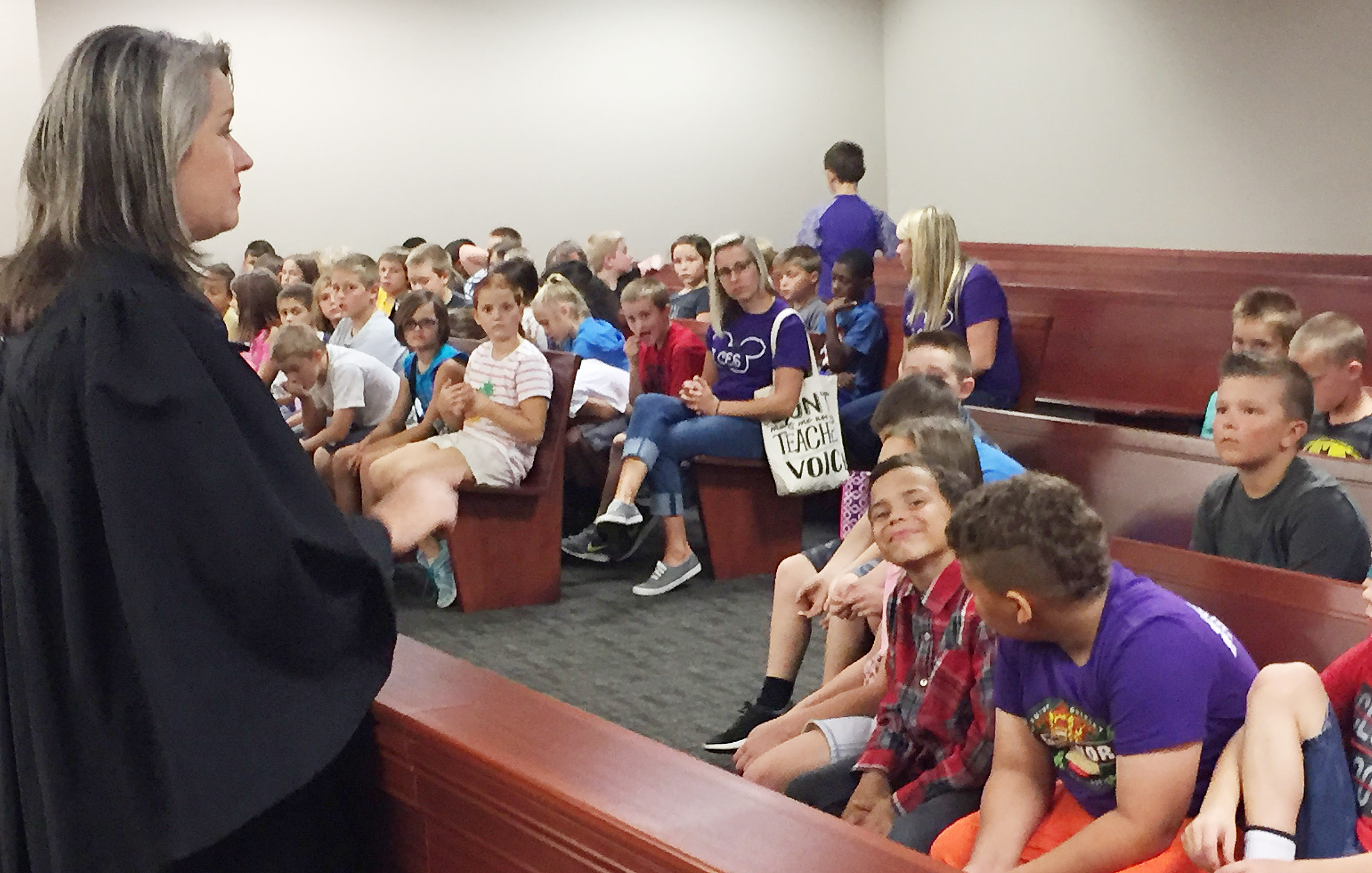 Taylor County District Court Judge Amy Anderson talks to CES third-graders about the court system.