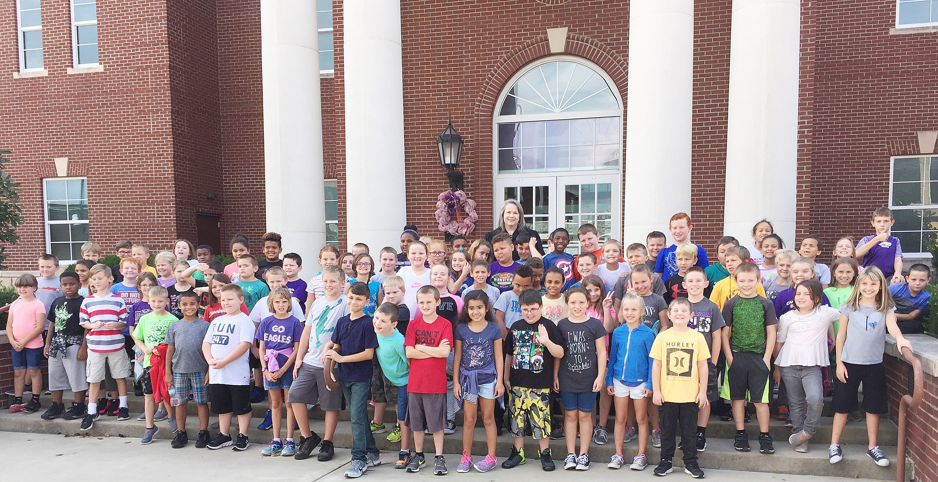 Taylor County District Court Judge Amy Anderson poses for a photo with CES third-graders.