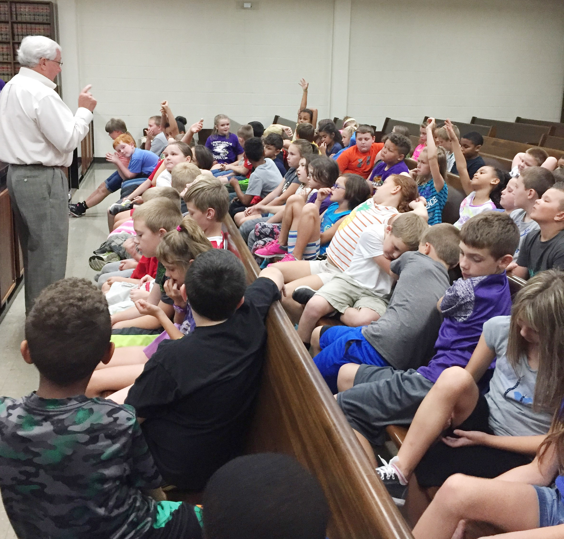 Taylor County Judge/Executive Eddie Rogers talks to CES third-graders about how county government operates.