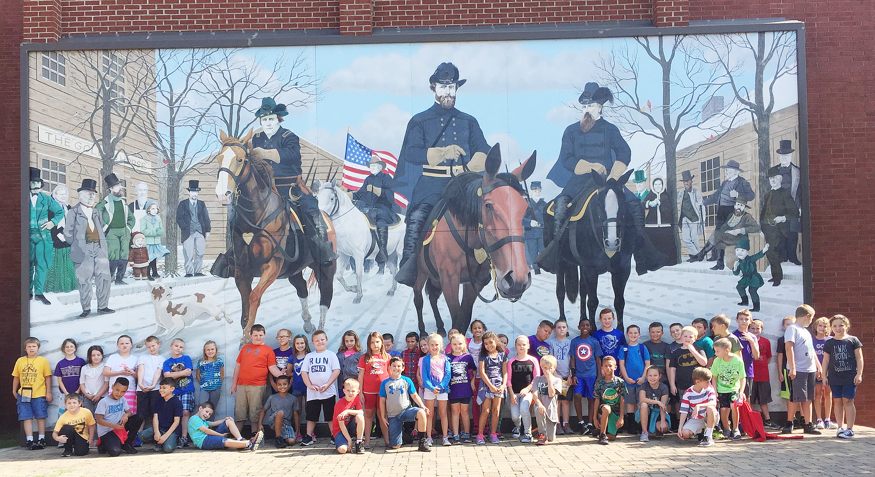 CES third-graders pose for a photo outside Taylor County Courthouse.