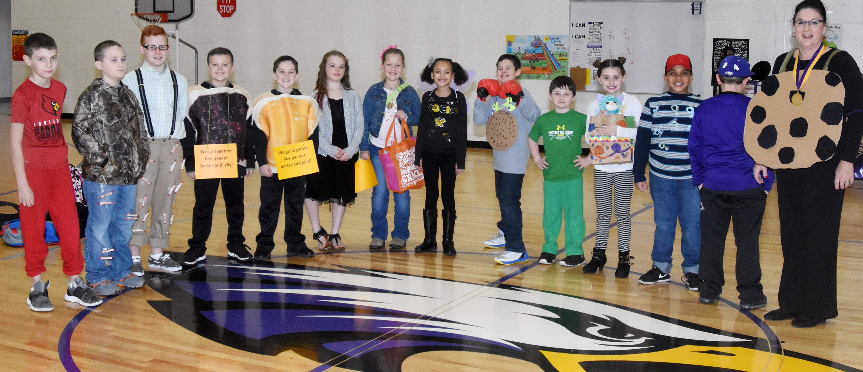 CES third-graders in Patty Haley's class dress to represent their favorite idioms. From left are Aidan Wilson, Carson Ford, Reece Swafford, Cayton Lawhorn, Luke Adkins, Cayleigh Underwood, Madison South, Alexia Howard, Damien Clark, Codey Parks, Cadence Burton, Zaemar Hoskins, Hayden Maupin and teacher Patty Haley.
