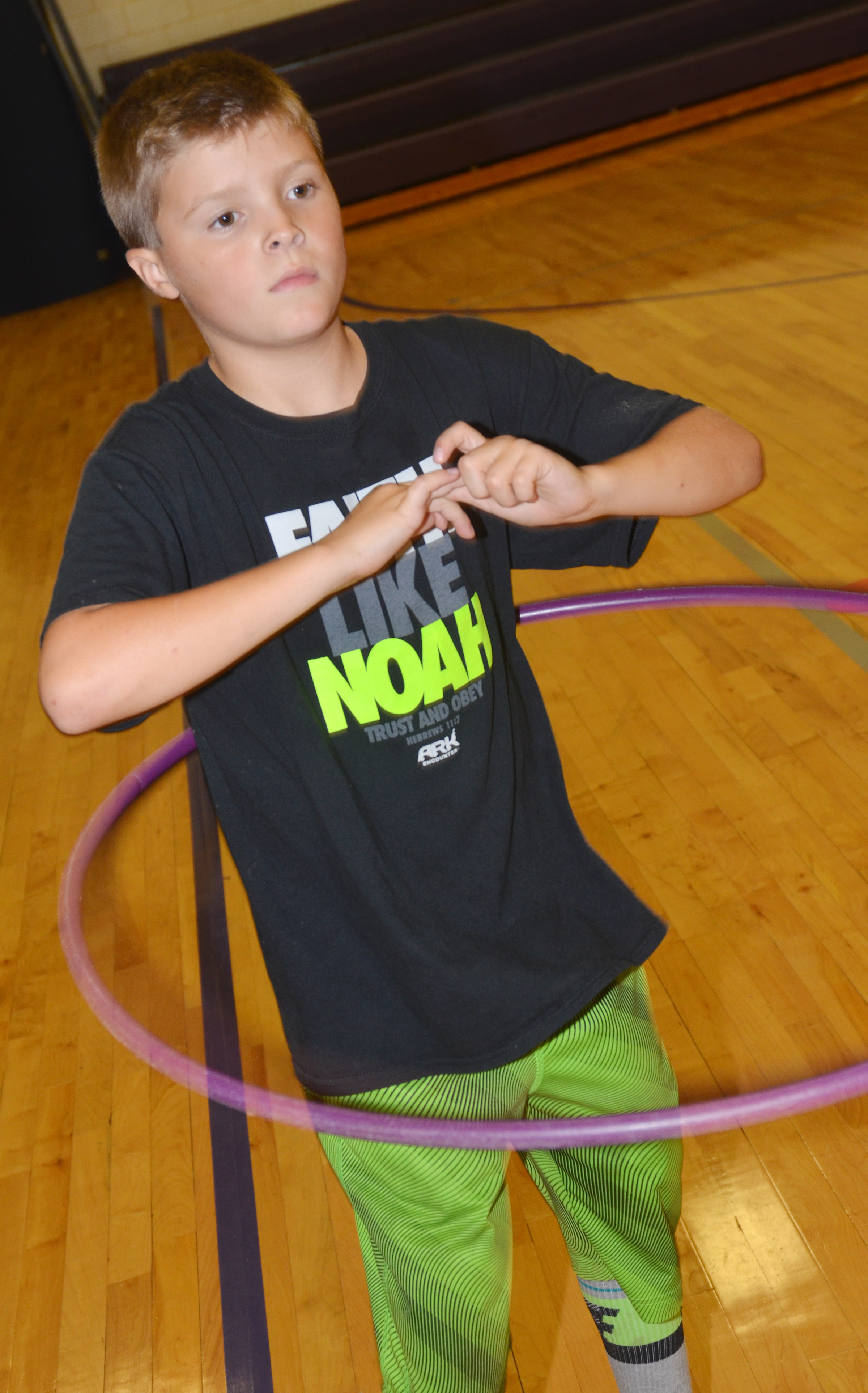 CES third-grader Emerson Gowin hula hoops.