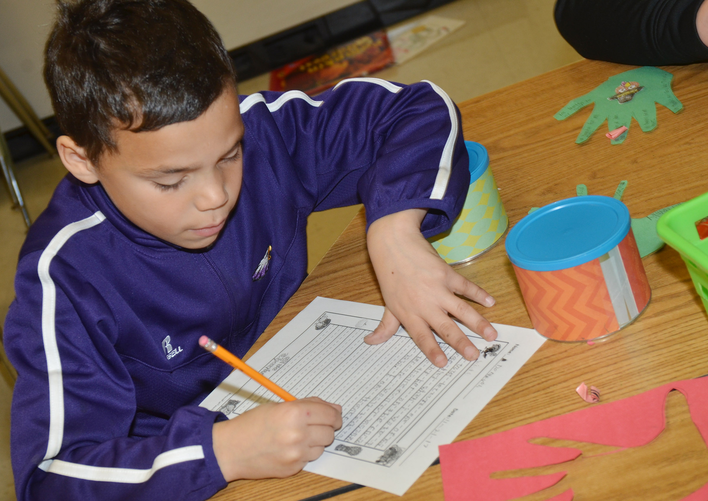 CES third-grader Donnaven Phillips writes about what he is thankful for.