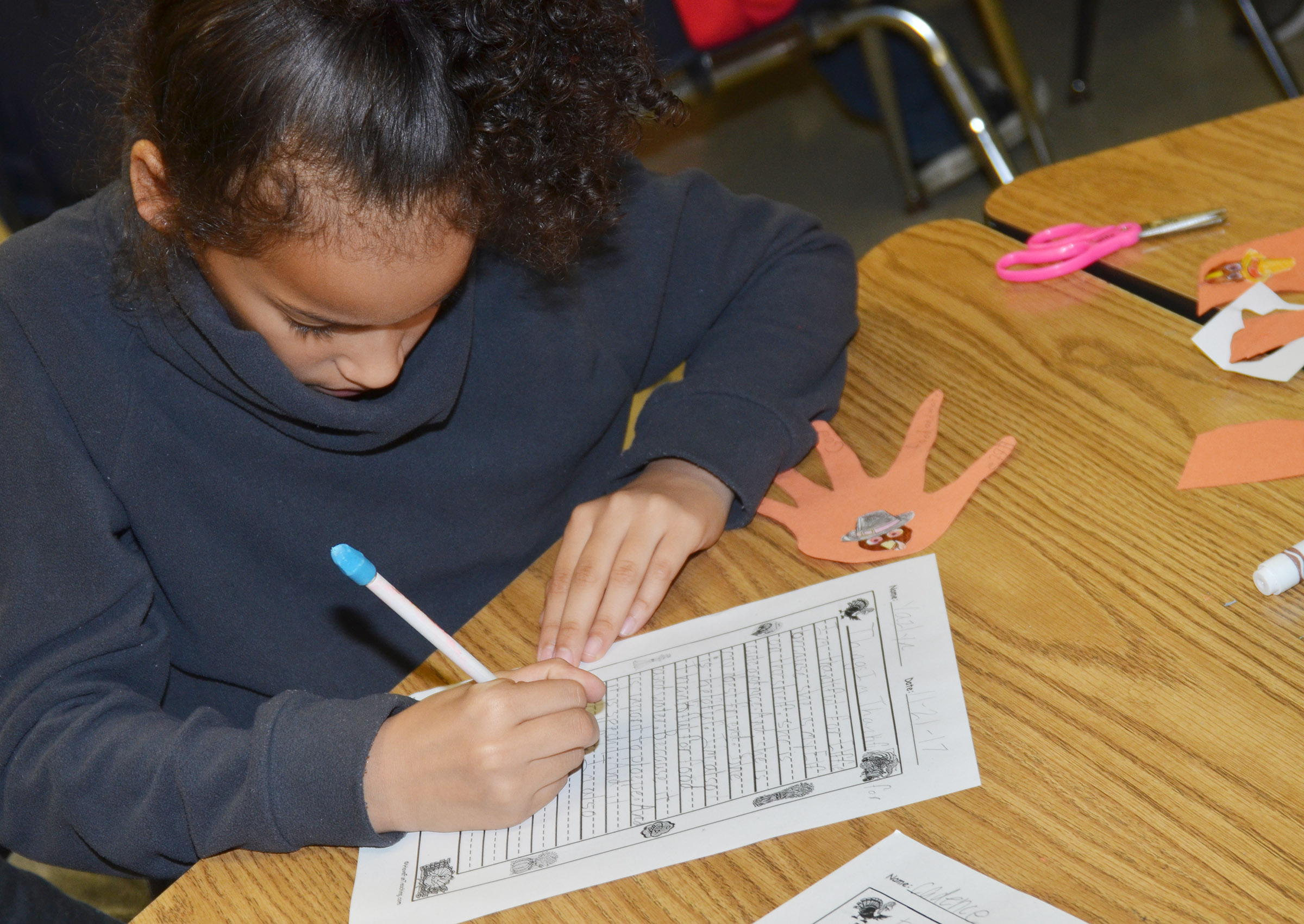 CES third-grader Yazlyn Sutton writes about what she is thankful for.