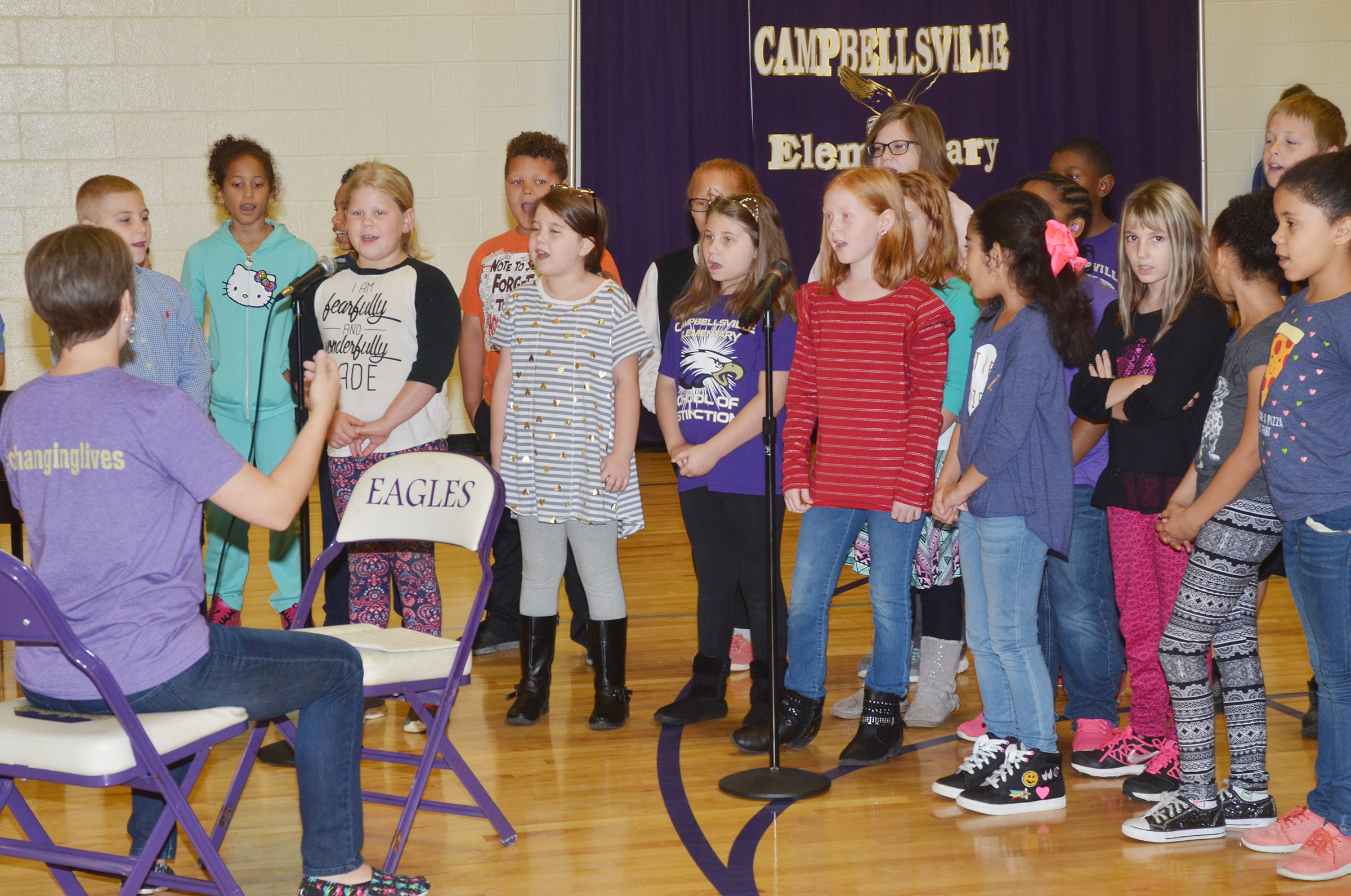 "CES third-, fourth- and fifth-grade choir members sing ""American Tears."""
