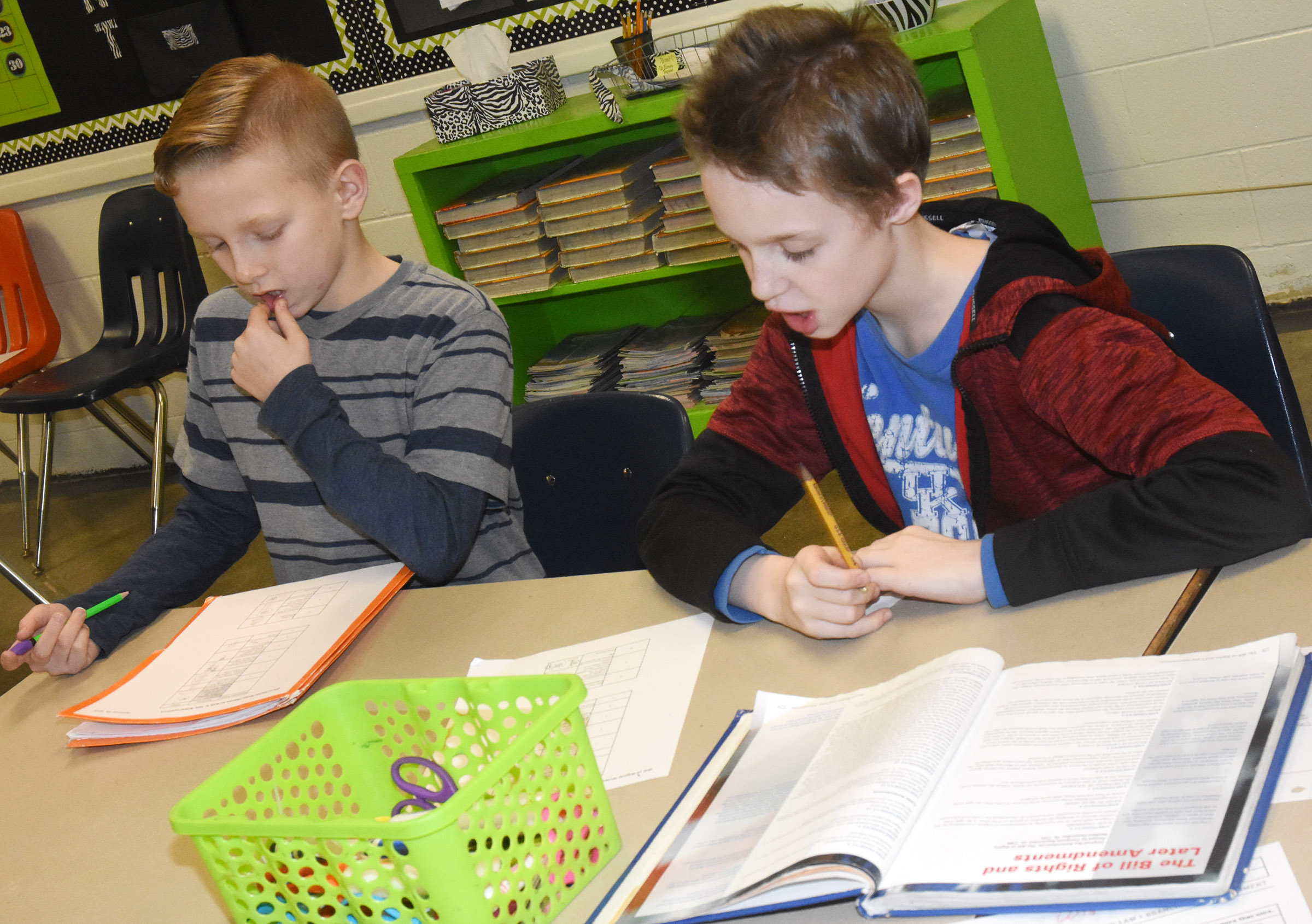 CES fifth-graders Austin Gabbert, at left, and Will Wooley take notes as they learn about the Bill of Rights.