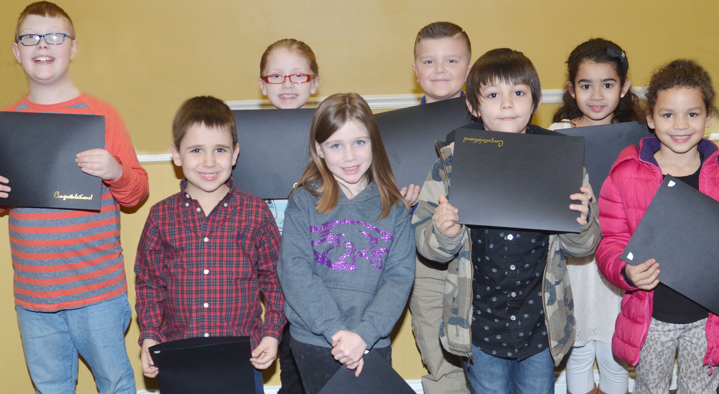 Campbellsville Elementary School students were recently named academic achievers and honored at the Campbellsville Board of Education regular meeting on Monday, Feb. 13. Students honored include, from left, front, first-graders Aaron Floyd and Izzy Brunelle and kindergarteners Keagan Shearer and Aleeya Spaulding. Back, third-graders Aidan Phillips and Gracie Pendleton and second-graders Cayton Lawhorn and Sophie Santos.