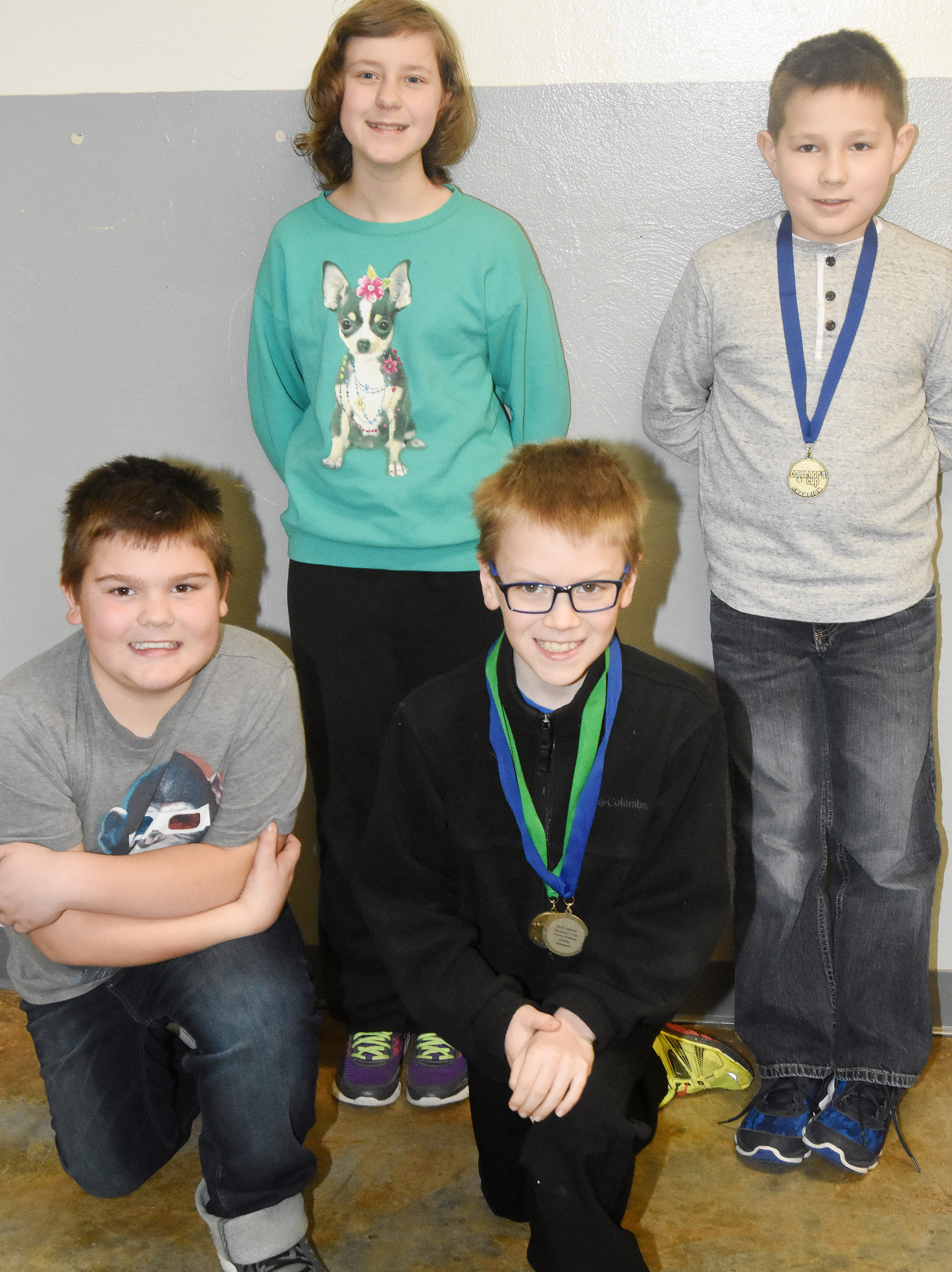 CES future problem solving students won first place at District Governor's Cup and advance to region competition. They are, from left, front, fifth-grader Logan England and fourth-grader Connor Coots. Back, fifth-grader Bryanna Fitzgerald and fourth-grader Grayson Dooley.