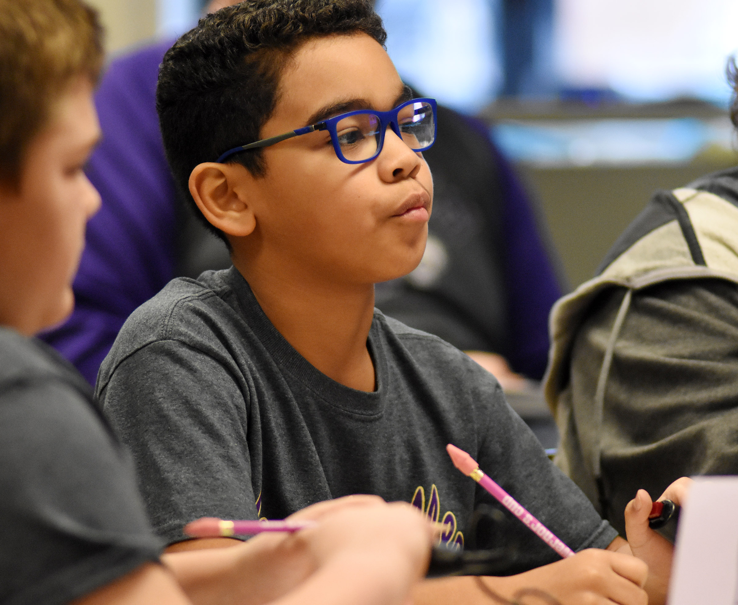 CES fifth-grader Gabriel Noyola listens to a question during the quick recall competition.