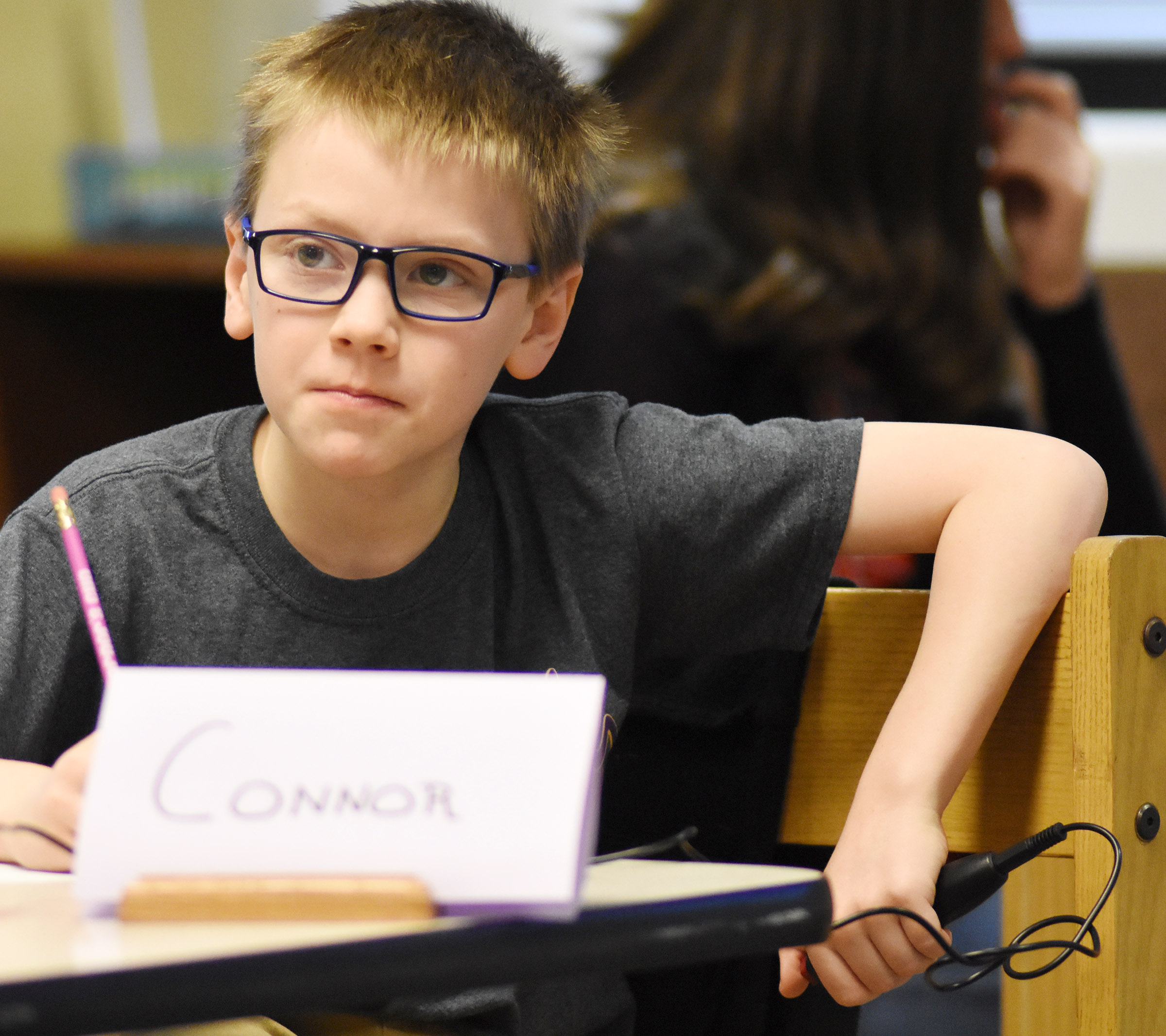 CES fourth-grader Connor Coots listens to a question during a quick recall match.