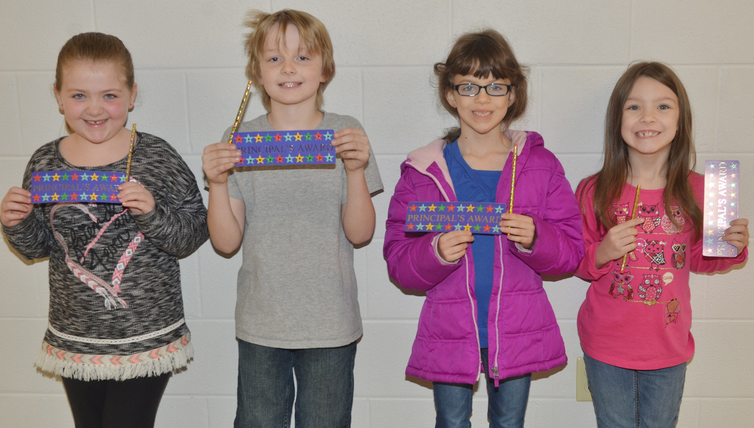 From left are first-grader London Whitlow, third-grader Devin Underwood, second-grader Lilly Wise and kindergartener Melody Ward.