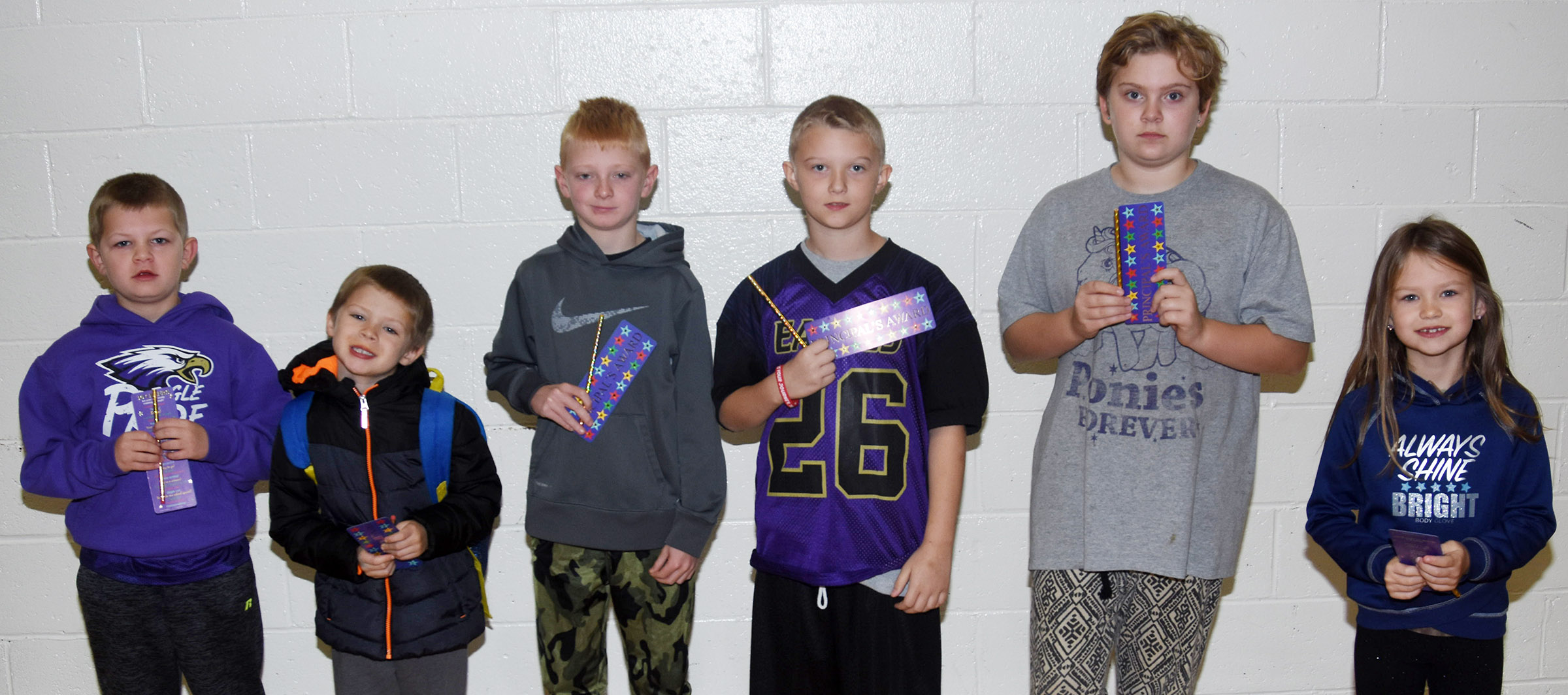 From left are second-grader Grif Thomas, kindergartener Brian Daniels, third-grader Jacob Wethington, fourth-grader Camren Skaggs, fifth-grader Arianna Childers and first-grader Lilly Spencer.