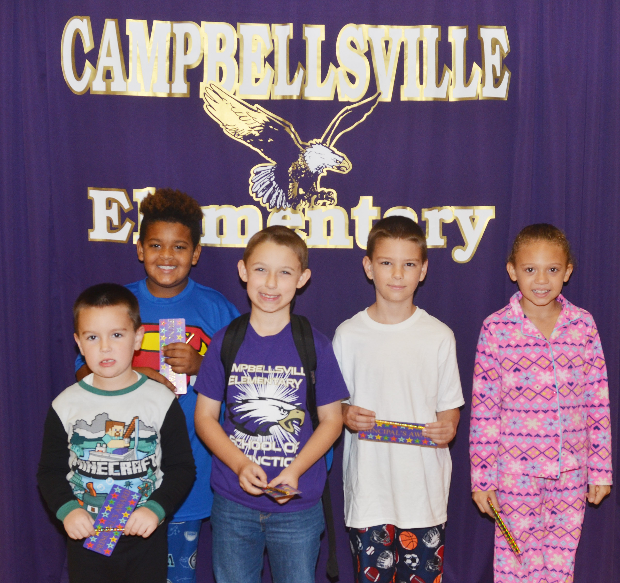 From left are kindergartener Xander Britton, third-grader Jayden Moore, second-grader Aiden Forrest, fifth-grader Taylan Hunt and fourth-grader Alicia Spaulding. Absent from the photo is first-grader Kira Dotson.